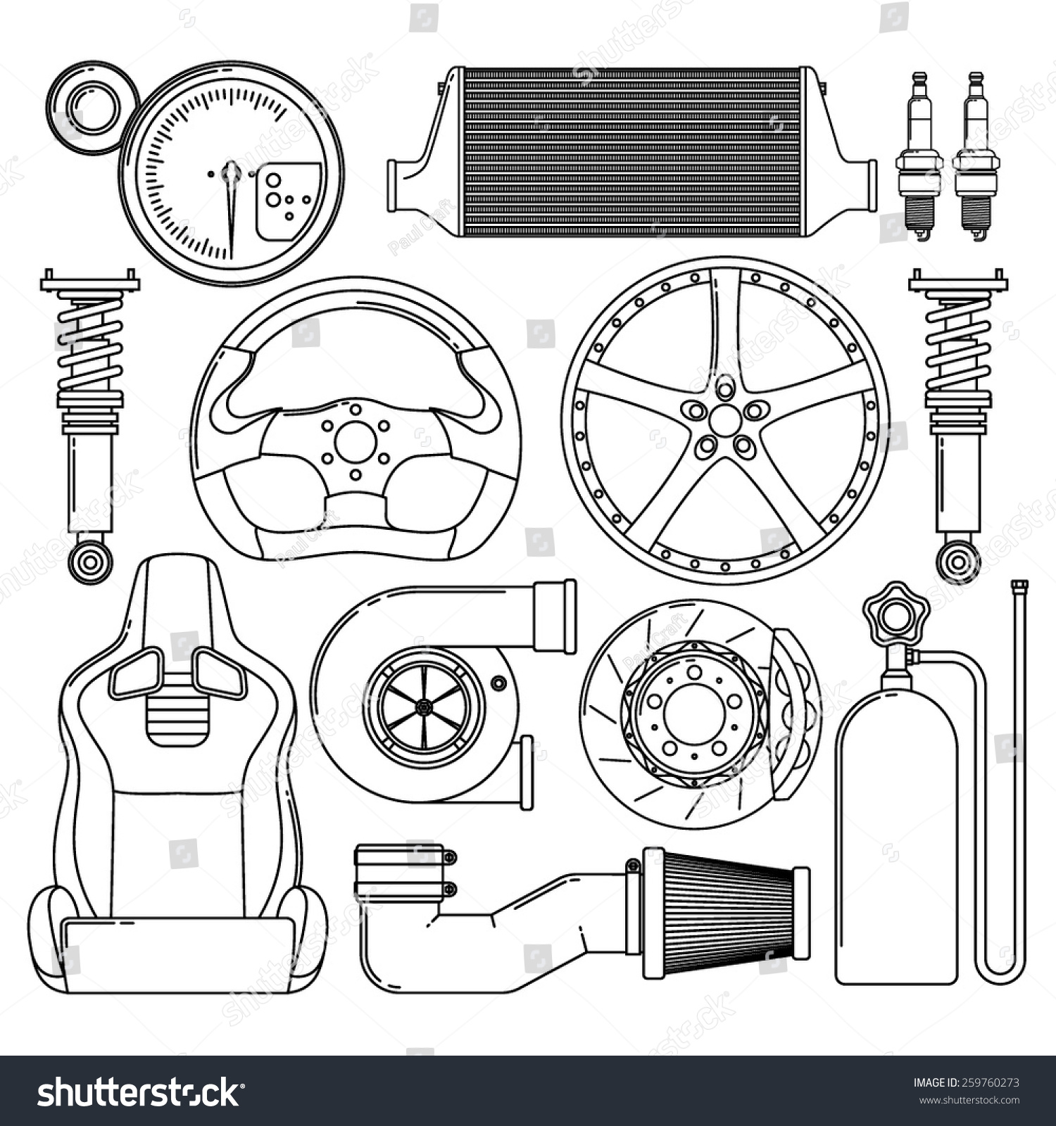 Car Parts Automotive Themed Icons Tuning Stock Vector 259760273 ...