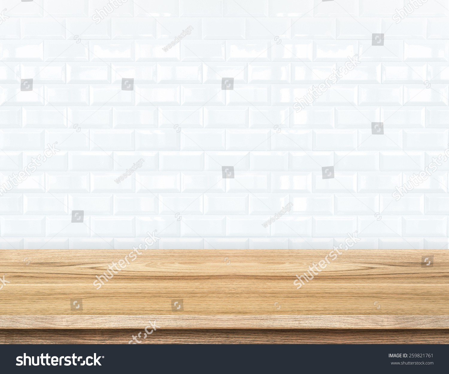 Empty wood table ceramic tile brick stock photo 259821761 empty wood table and ceramic tile brick wall in background product display template dailygadgetfo Gallery