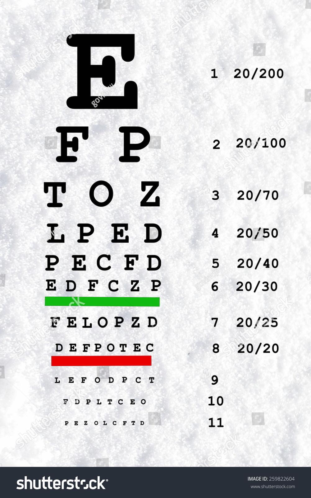Eye Sight Test Chart Snellen Chart Stock Illustration 259822604