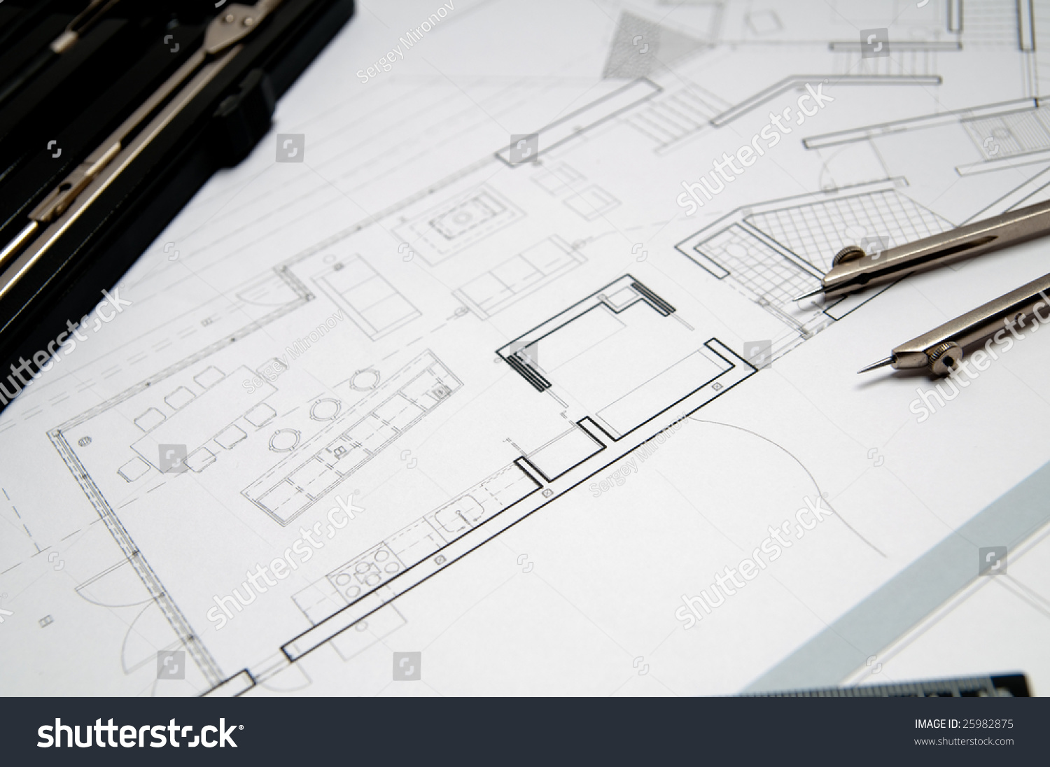Architecture blueprint tools stock photo 25982875 shutterstock architecture blueprint tools malvernweather Image collections