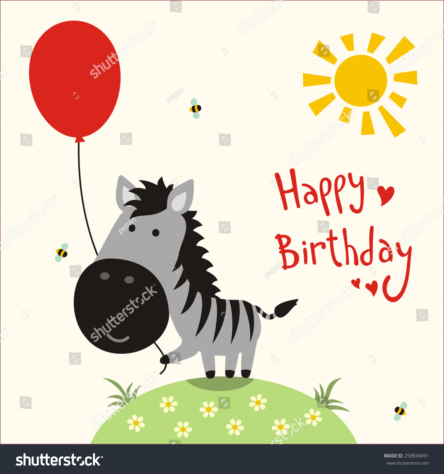 Royalty free Happy birthday vector card funny… Stock