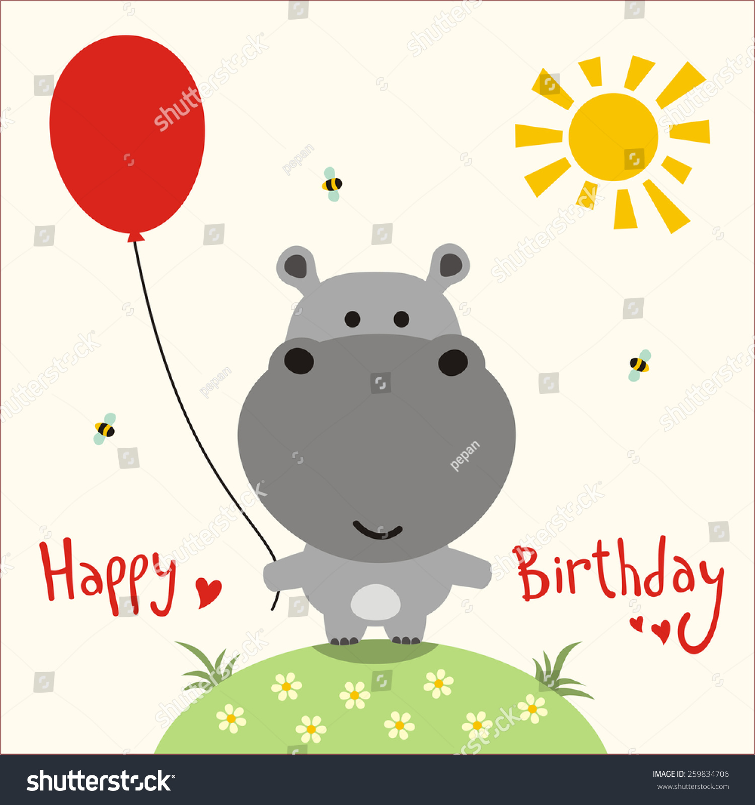 Happy birthday card funny little hippo stock photo photo vector happy birthday card funny little hippo with balloon handwritten text bookmarktalkfo Image collections