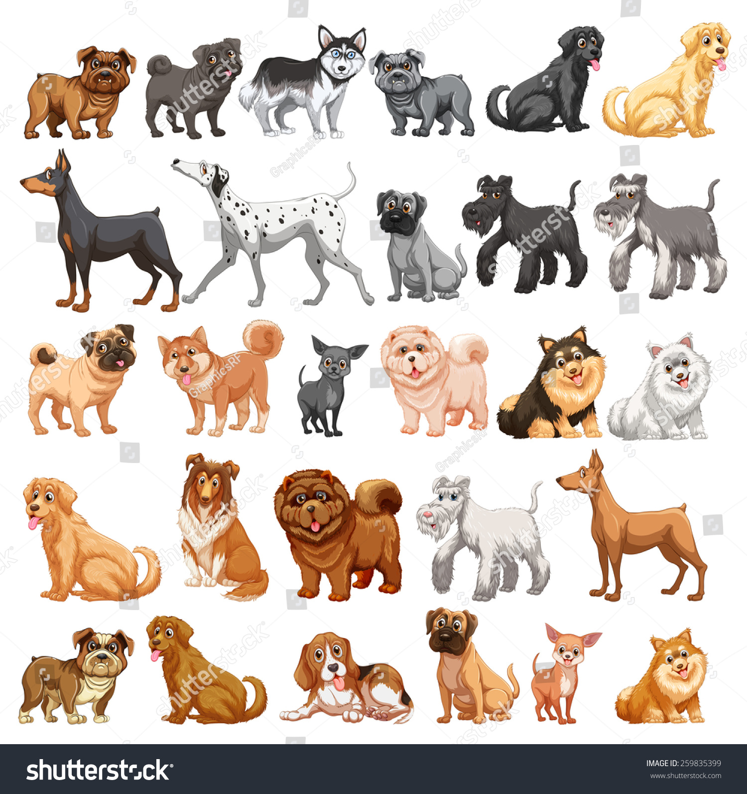 Different type dogs small big stock vector 259835399 for Types of dogs with photos