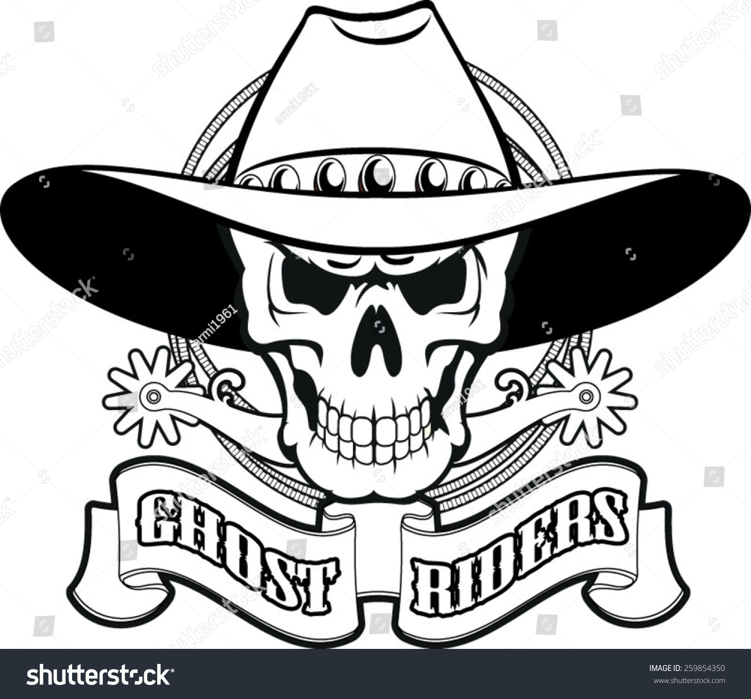 Cowboy skull spurs lasso text ghost stock vector 259854350 cowboy skull with spurs lasso and text ghost riders buycottarizona Images