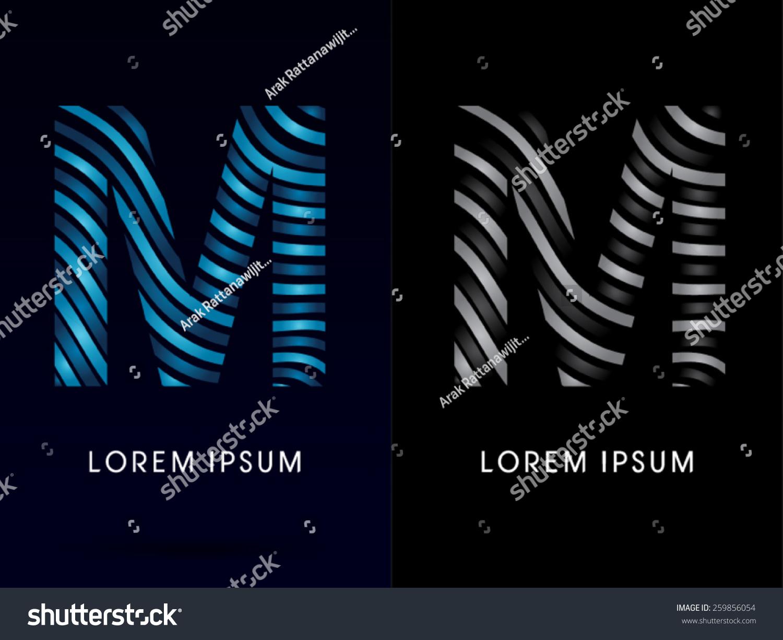 M Modern Wave Font Designed Using Blue And Black Line On Dark