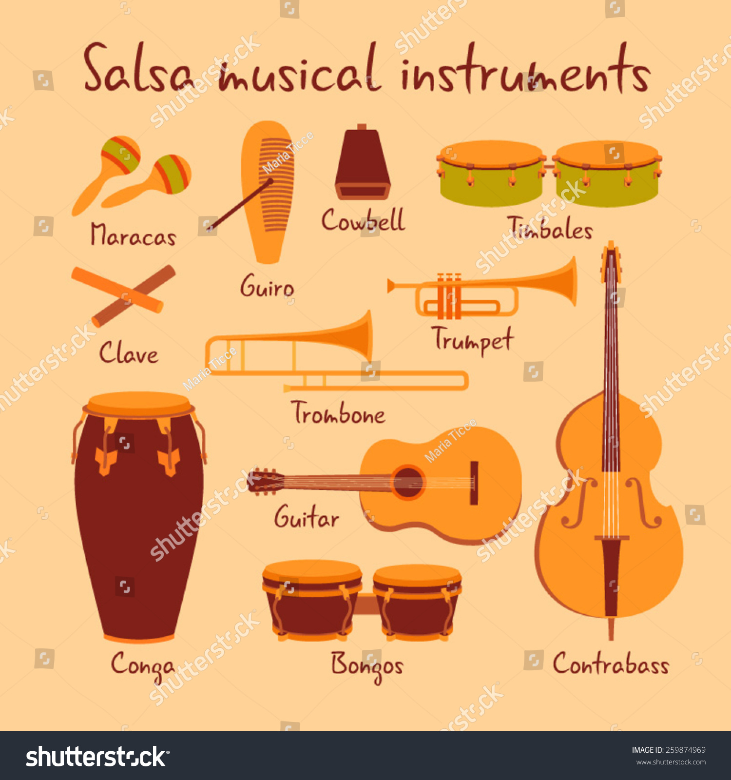 cuban salsa musical instruments vector set 259874969 shutterstock. Black Bedroom Furniture Sets. Home Design Ideas