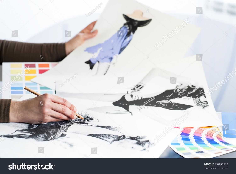 Extreme Close Fashion Designer Work Fashion Stock Photo Edit Now 259875209