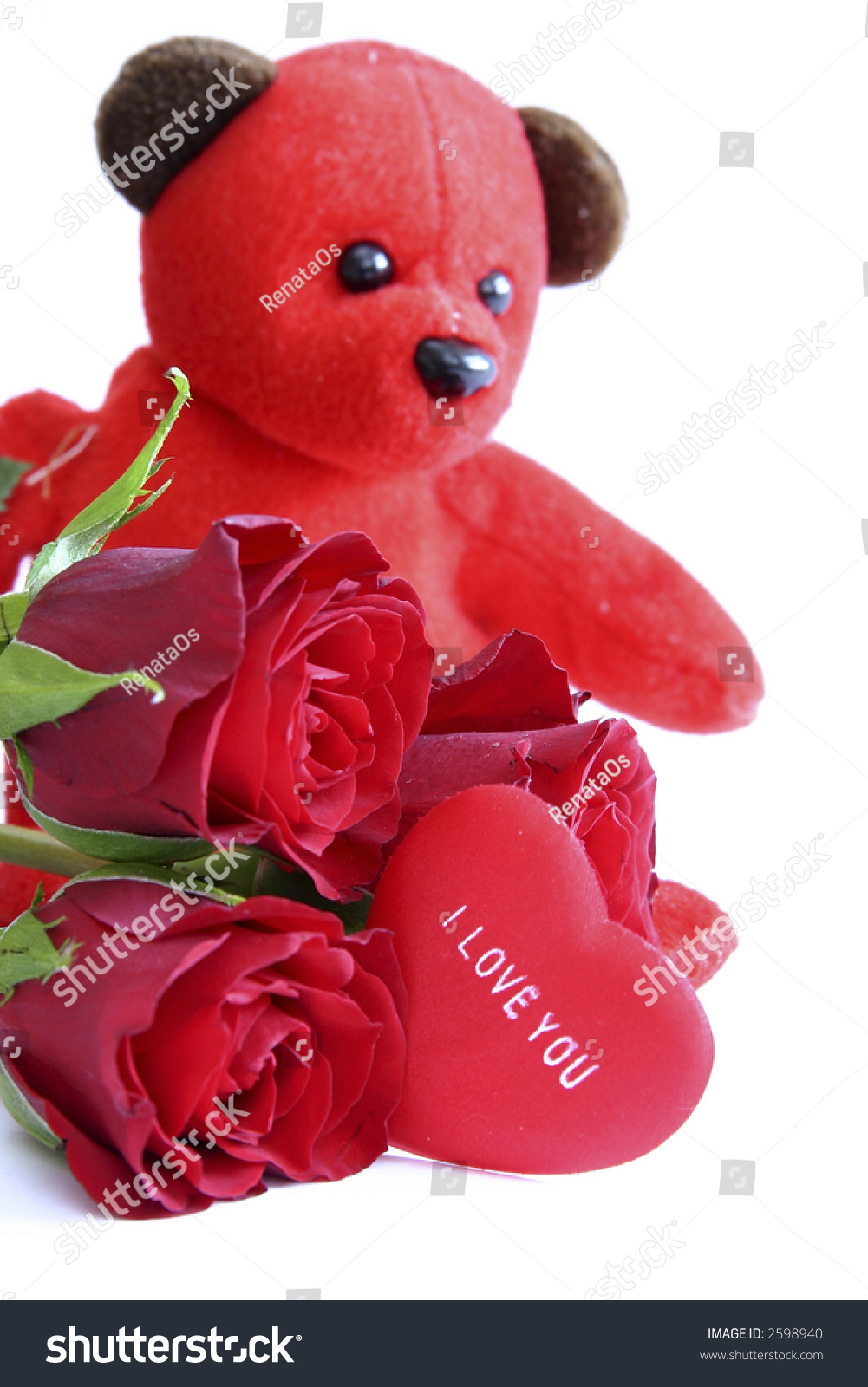 Red teddy bear roses message on stock photo edit now 2598940 red teddy bear with roses and message on heart saying i love you altavistaventures Images