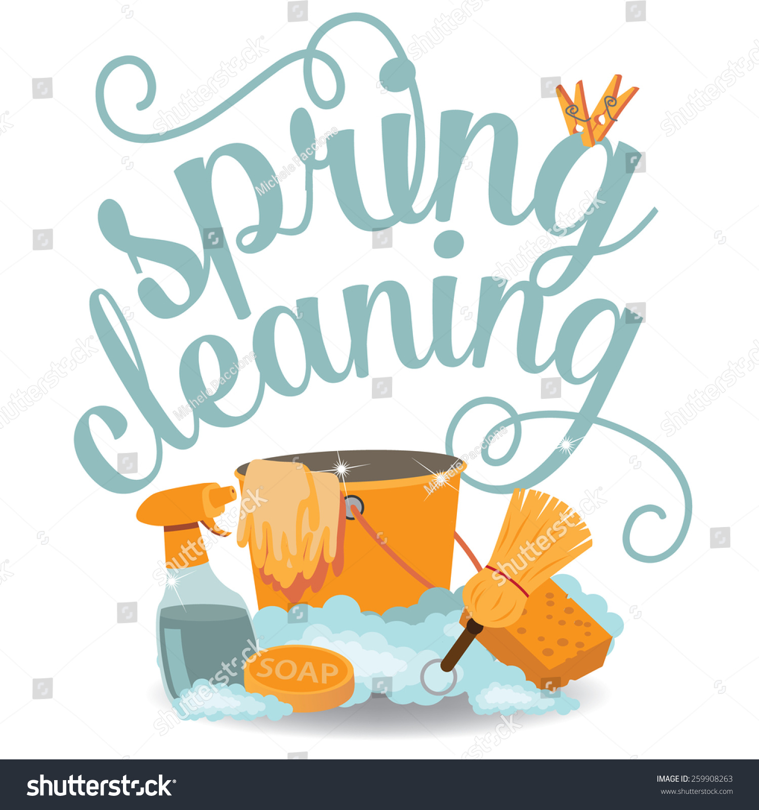spring cleaning cheerful flat design eps stock vector  spring cleaning cheerful flat design eps 10 vector royalty stock illustration for greeting card