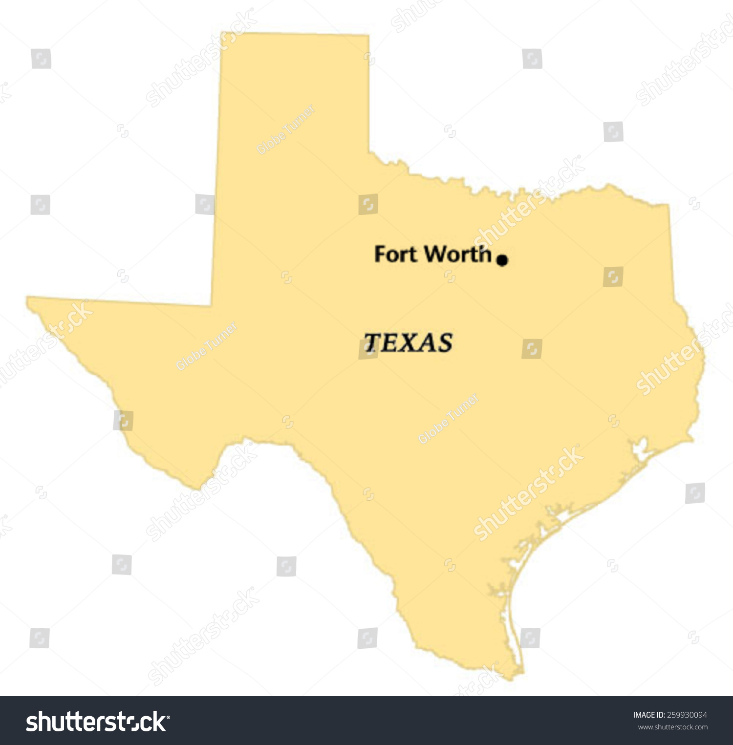 Fort Worth Texas Locate Map Stock Vector (Royalty Free) 259930094 ...