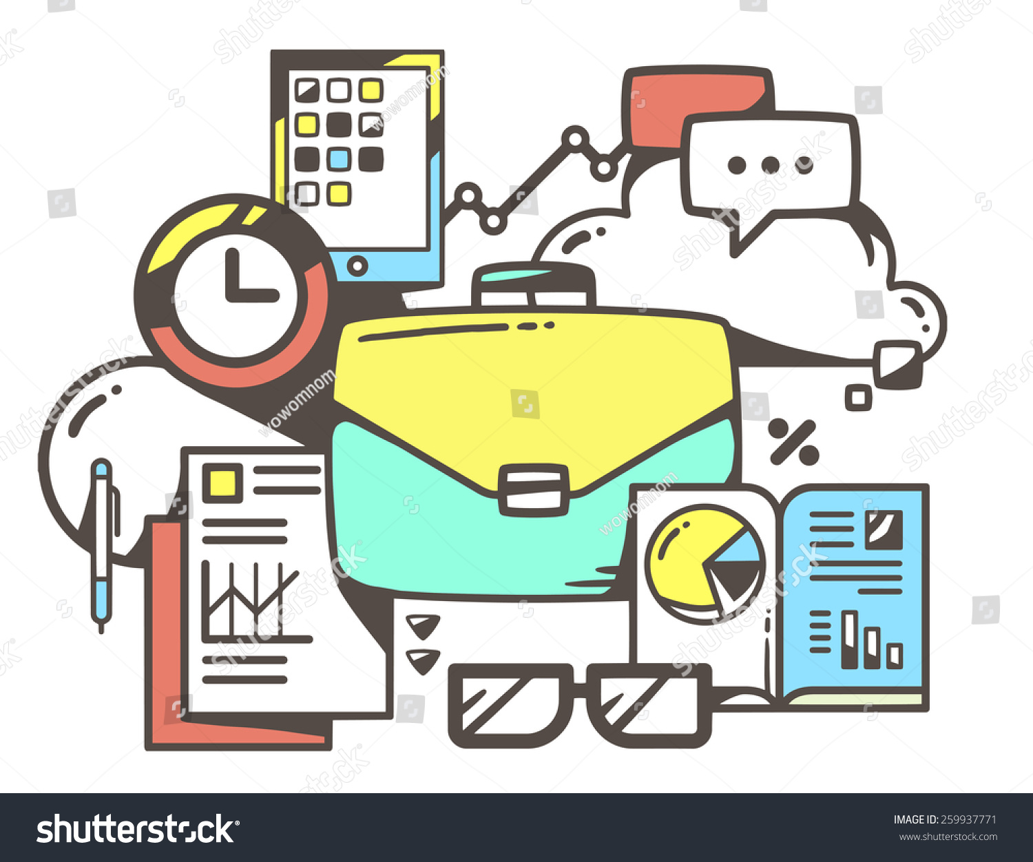 Vector Linear Illustration Of Green Business Case With Office Documents On White Background Color Hand