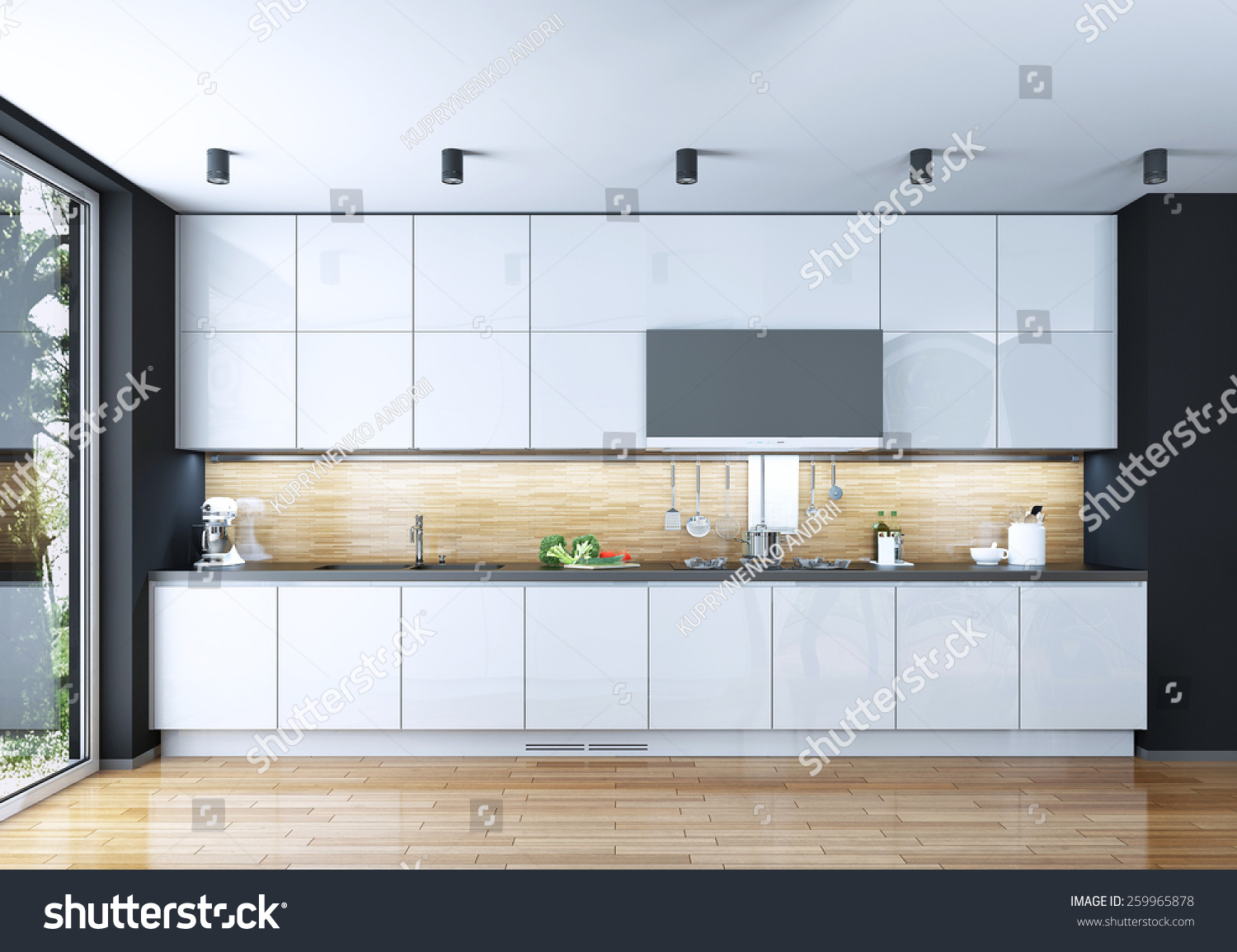 Kitchen Modern Style 3 D Images Stock Illustration 259965878 ...
