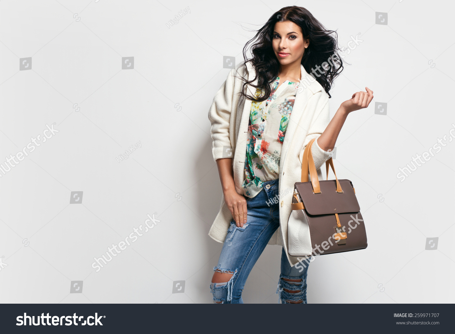Fashion Brunette Model Nice Clothes Posing Stock Photo ...