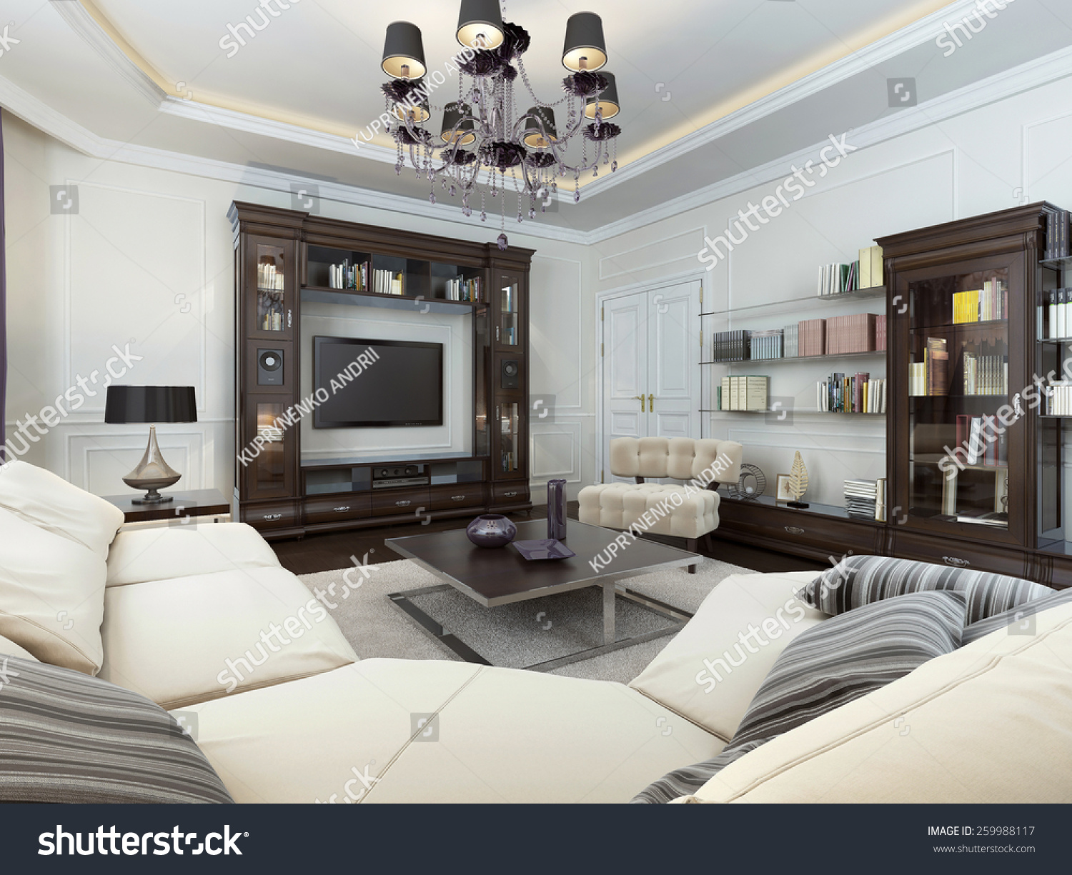 Living Room In Art Deco Style, 3d Images Part 39