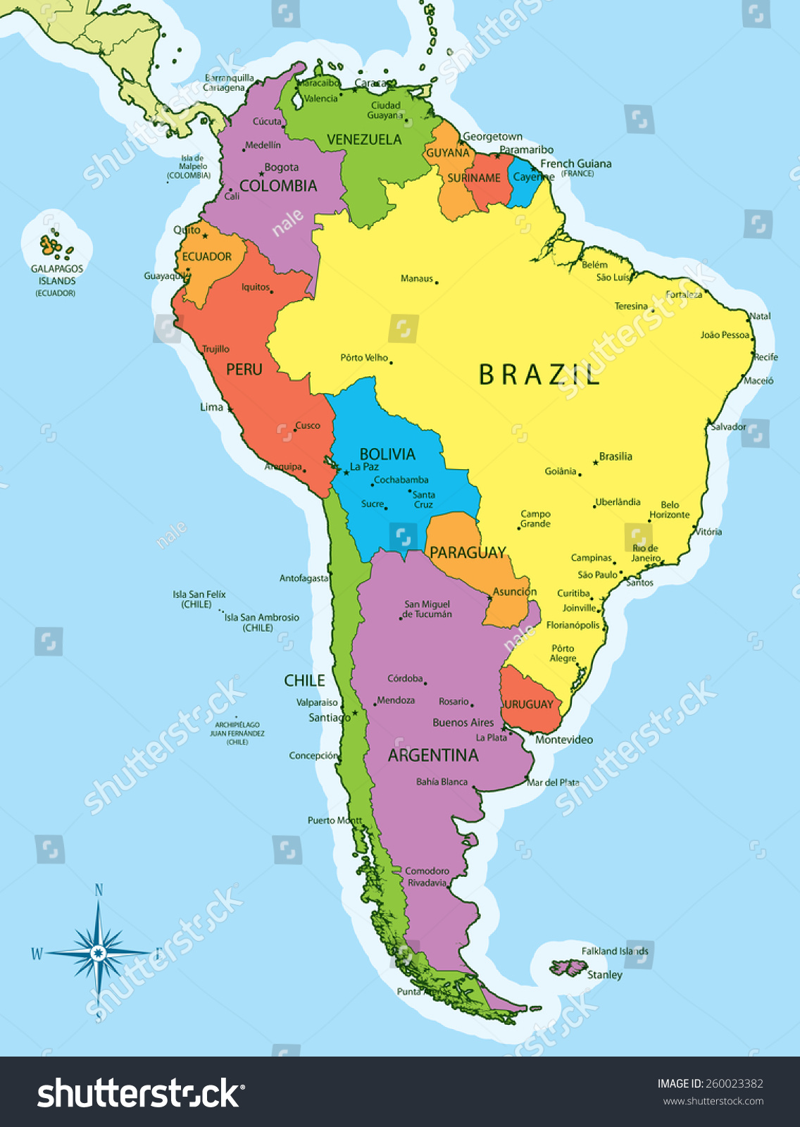 Vector illustration south america map countries stock for What color is south america
