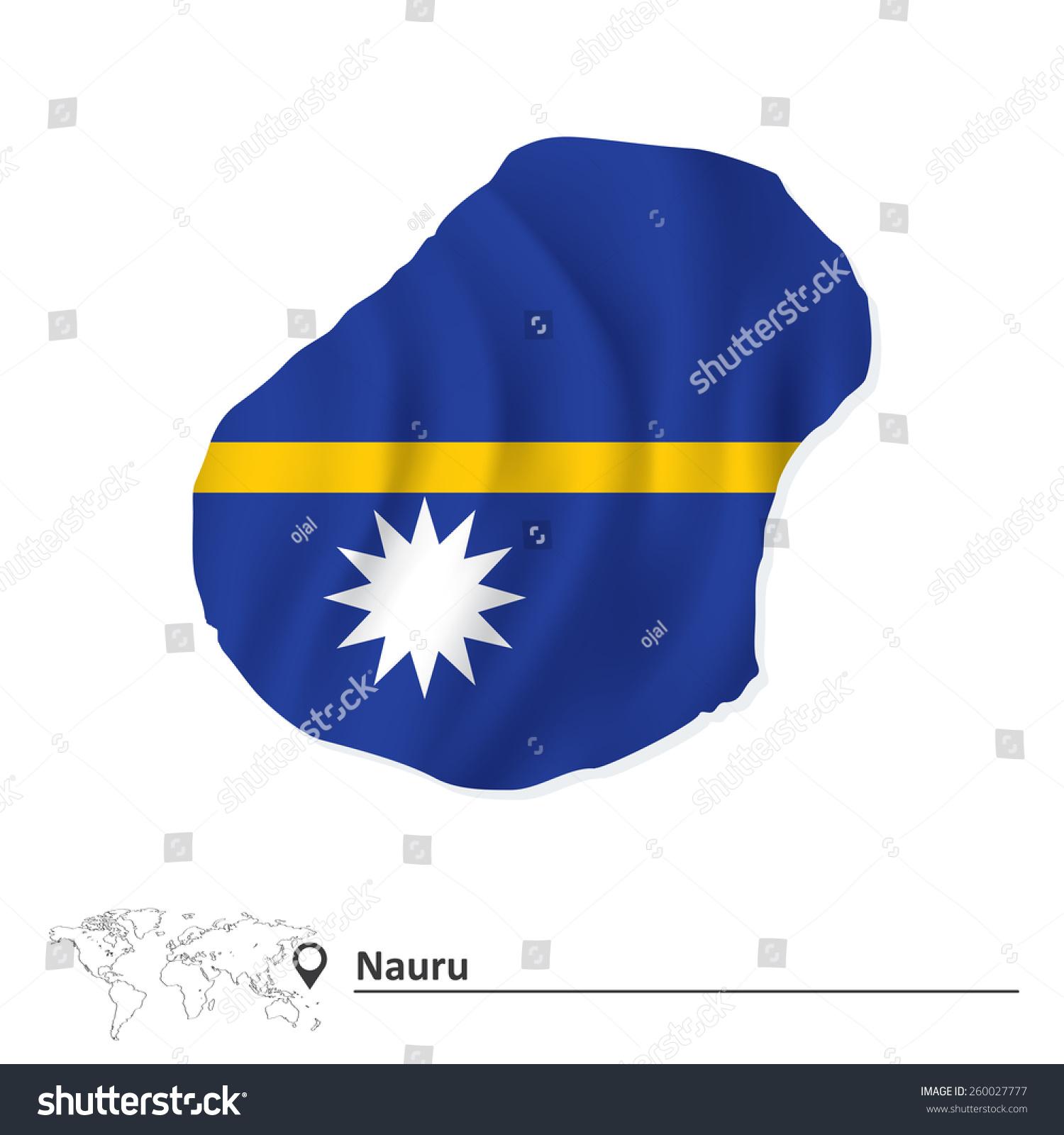 Map Nauru Flag Vector Illustration Stock Vector - Nauru map vector