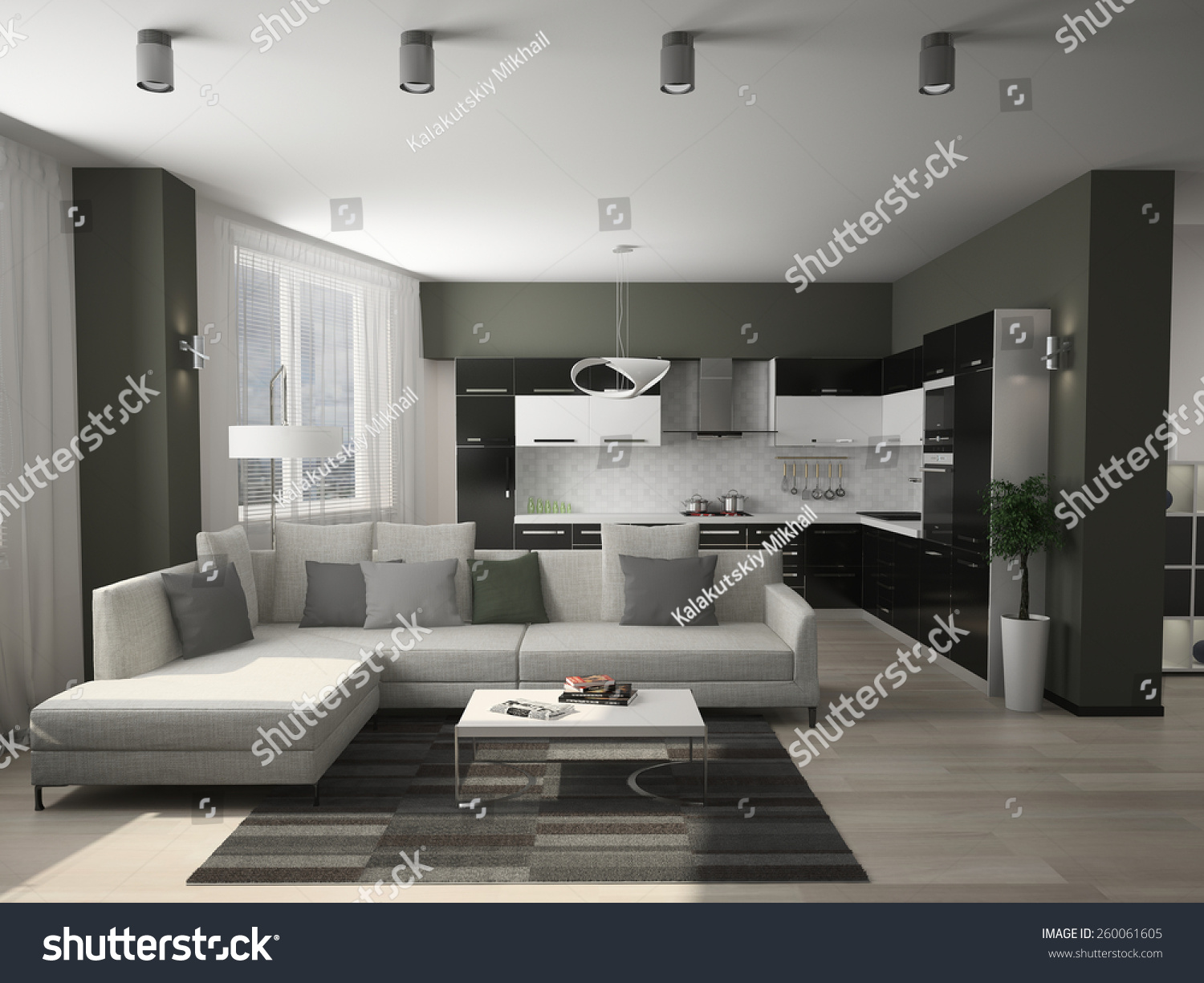 Modern Decorated Living Rooms Modern Interior Living Room 3d Rendering Stock Illustration