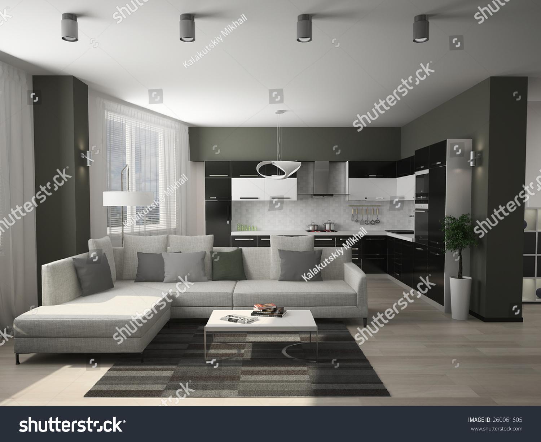 Modern Decorated Living Rooms Modern Interior Living Room 3d Rendering Stock Illustration