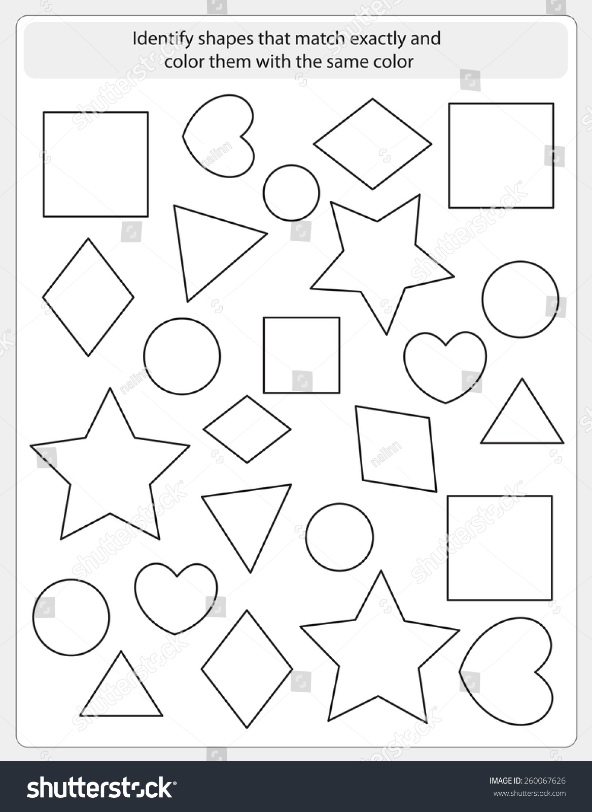 Coloring shapes worksheet - Kids Worksheet With Shapes To Match And Color Same Shape