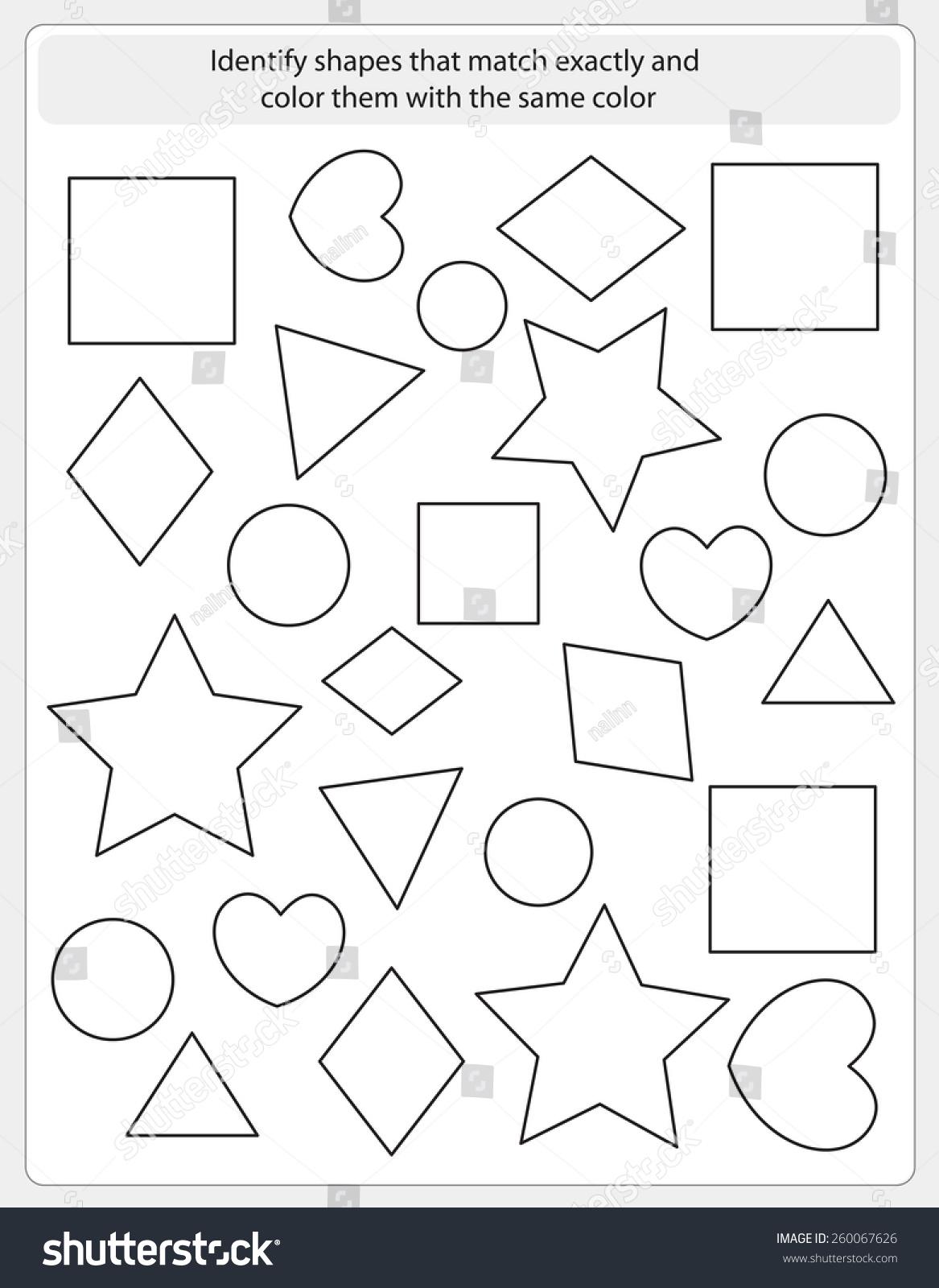 Kids Worksheet Shapes Match Color Same Stock Vector 260067626 ...