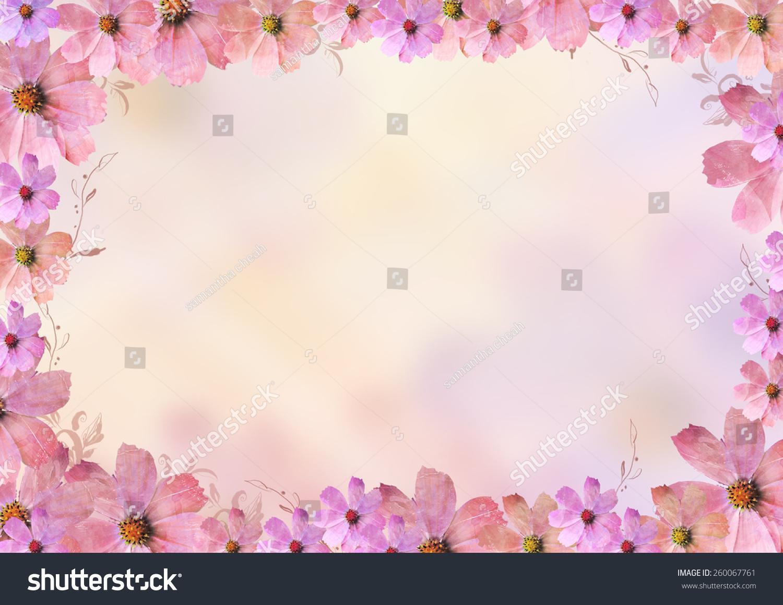 Beautiful Pink Flowers Frame Border Over Stock Illustration ...