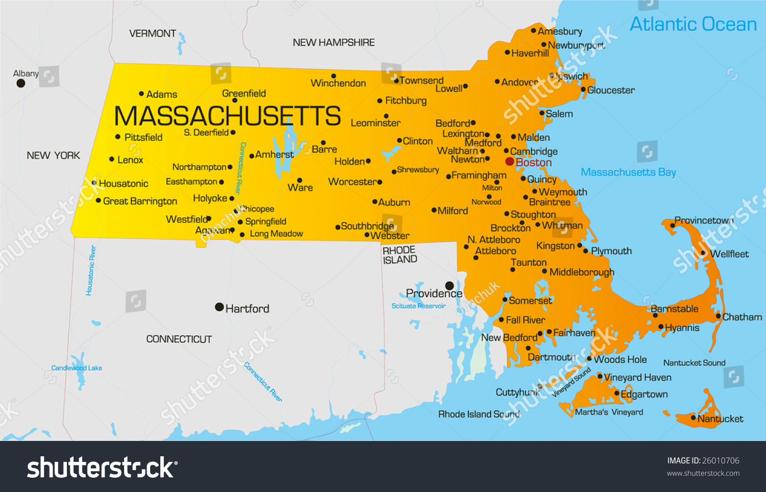 vector color map of massachusetts state  usa