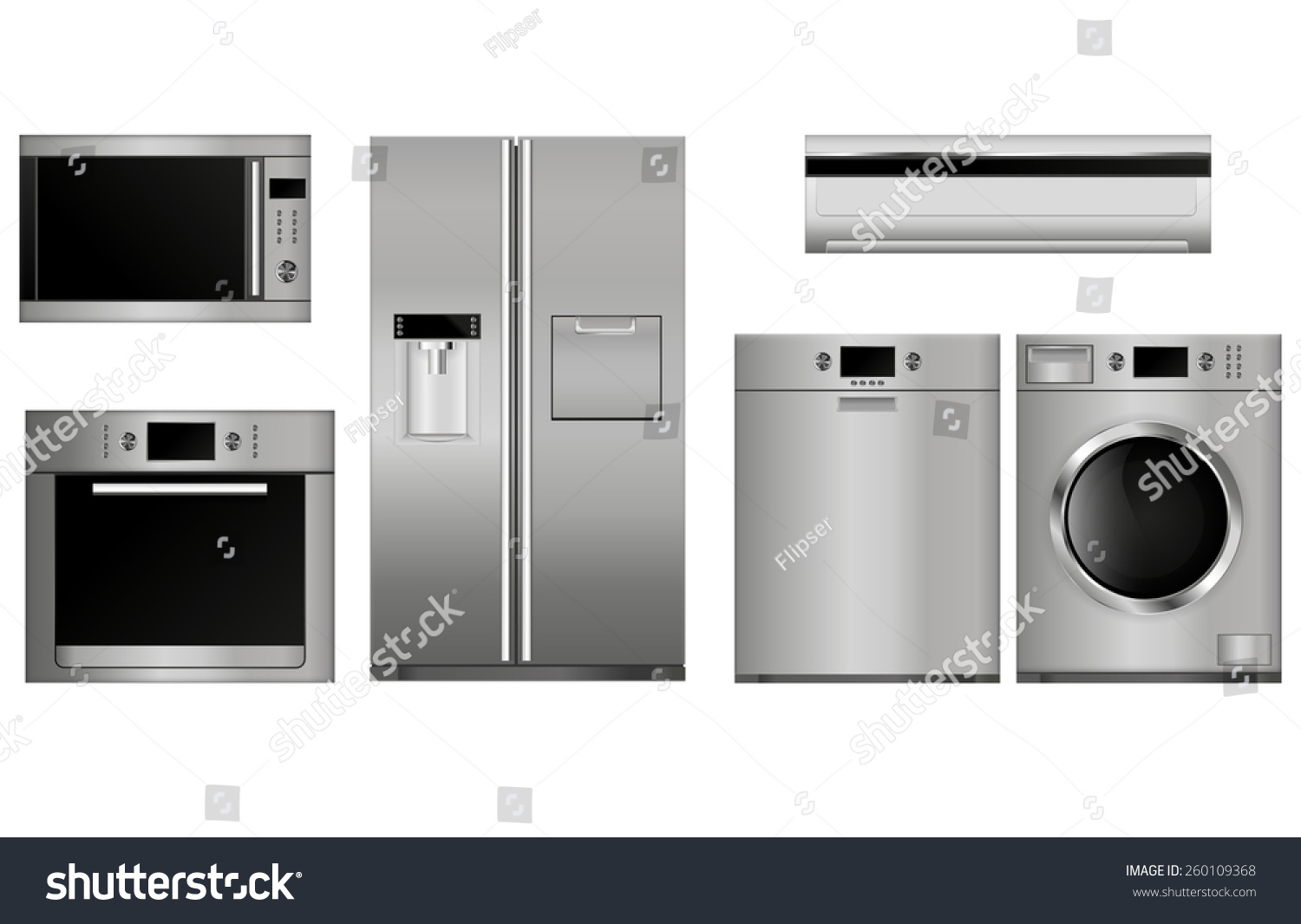 home appliances set household kitchen technics stock vector