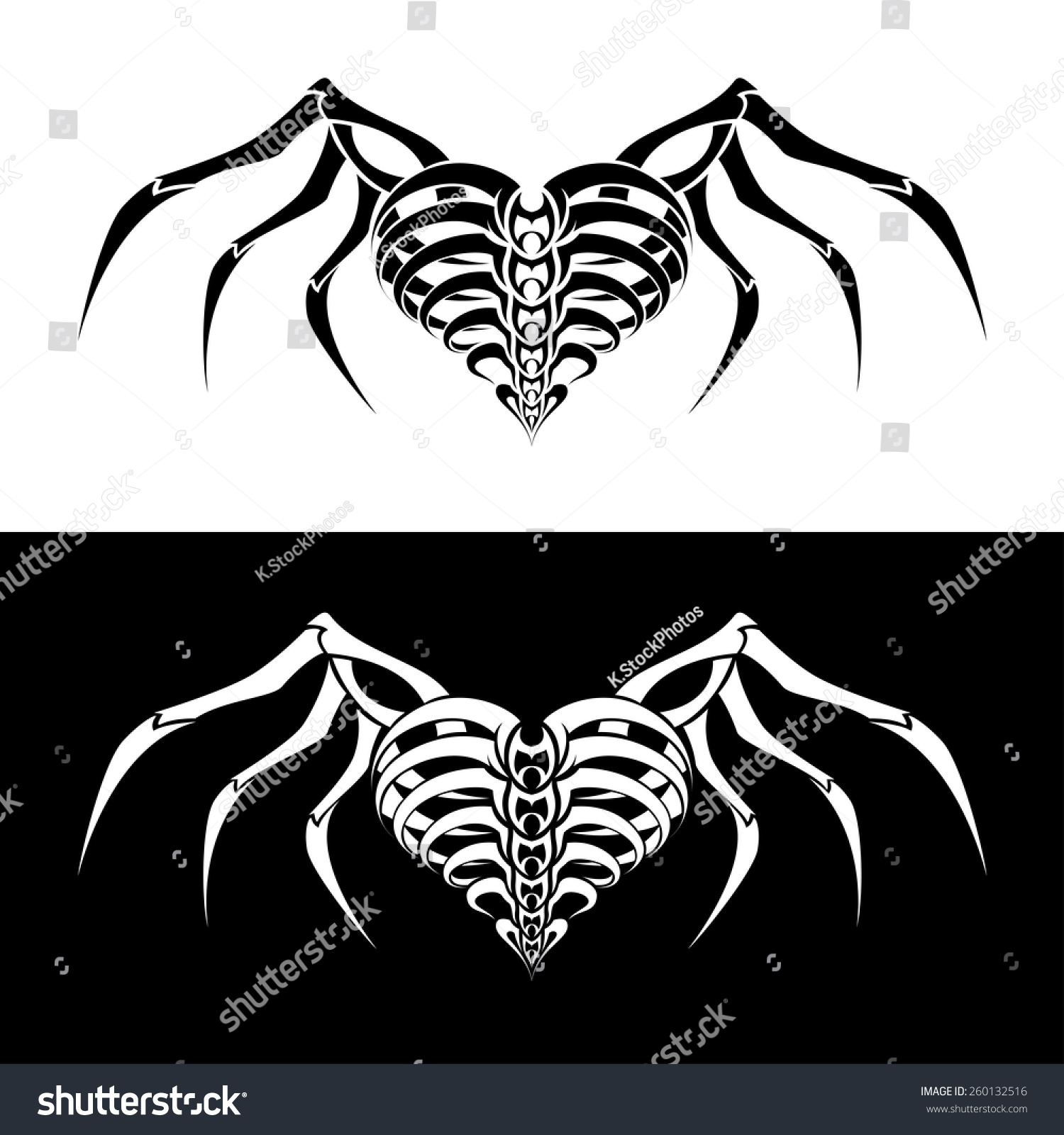 abstract heart wings tattoo design stock vector 260132516 shutterstock. Black Bedroom Furniture Sets. Home Design Ideas
