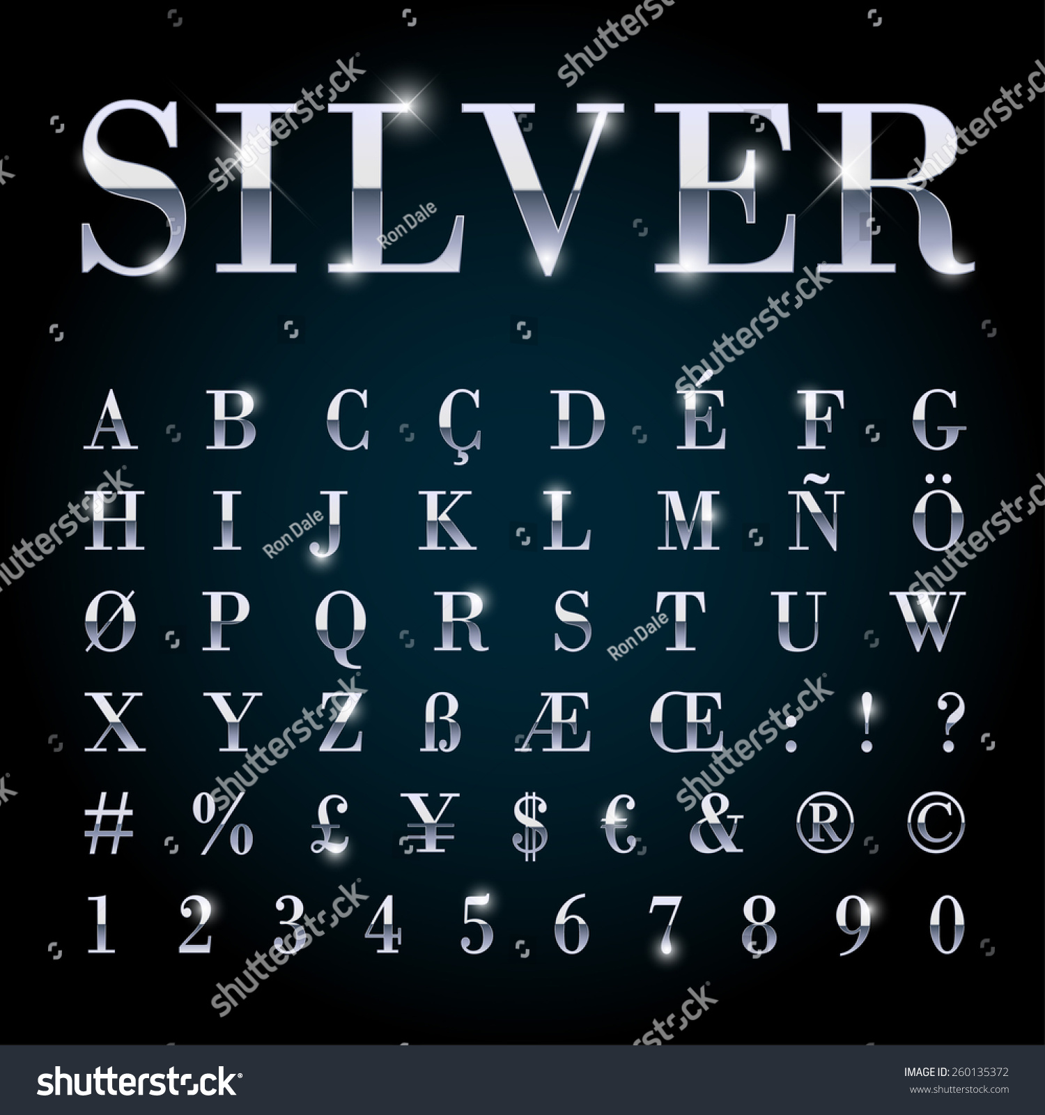 metal letters and symbols stock vector silver metal font with letters numbers currency symbols