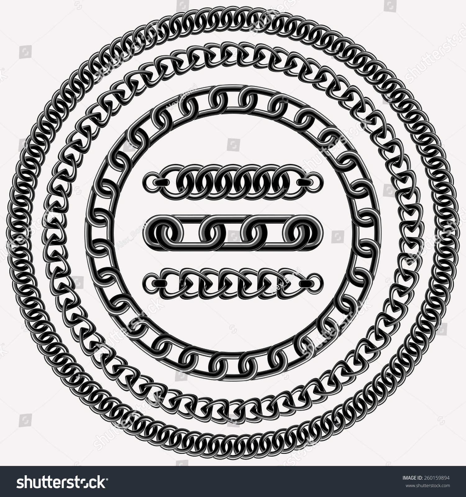vector decorative chain design elements and three brushes for illustrator - Decorative Chain