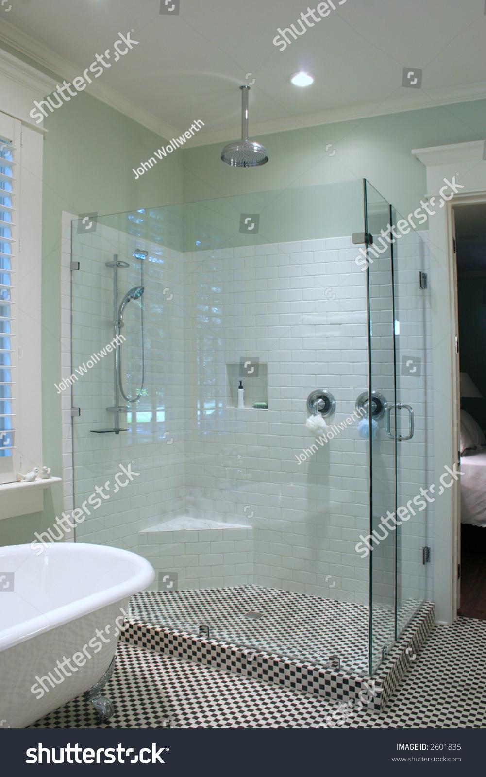 Bathroom Black White Tile Glass Stock Photo (Royalty Free) 2601835 ...