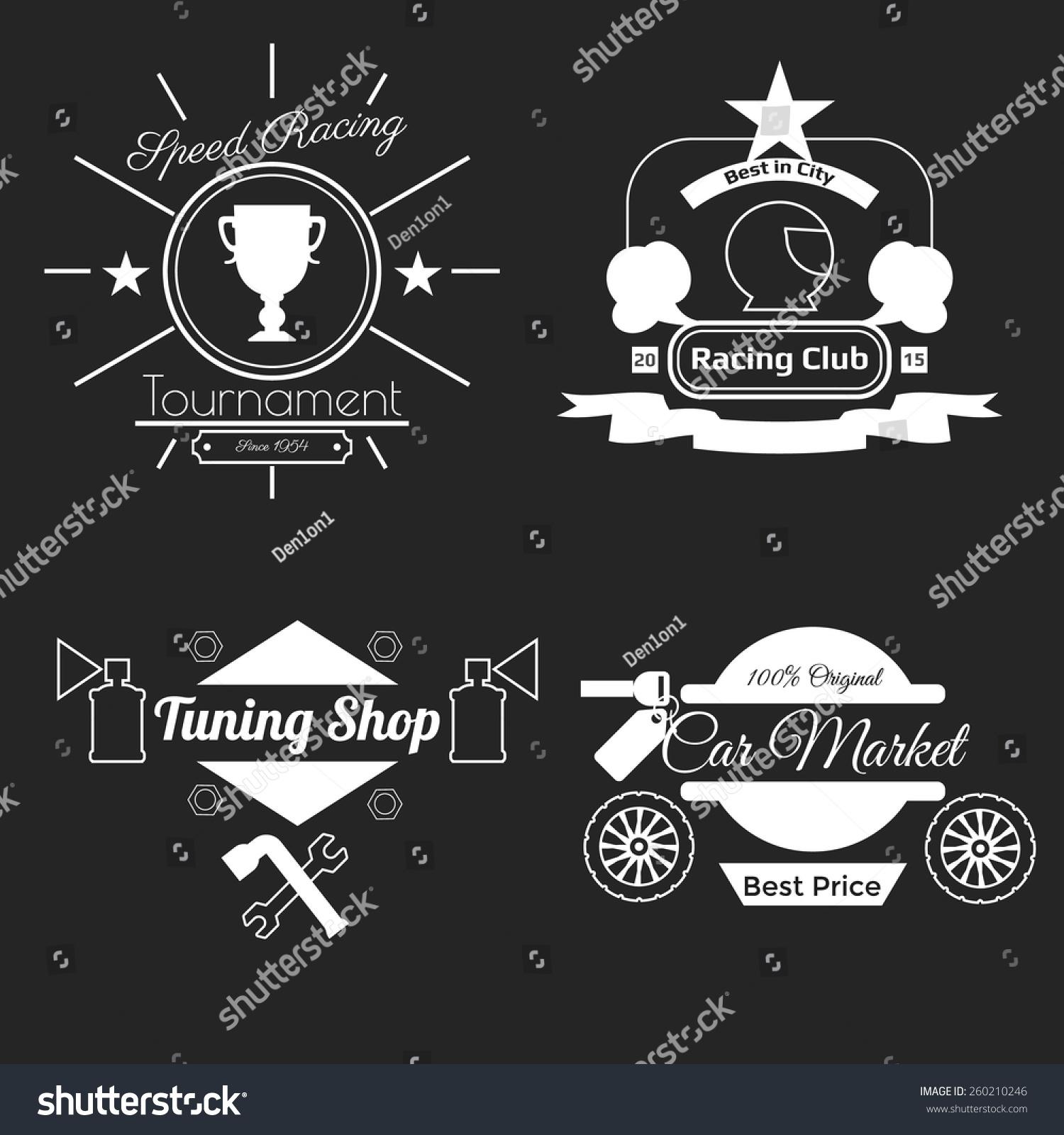 Design car club logo - White Car Theme Logos On Black Background In Flat Design Badges Tournament Racing