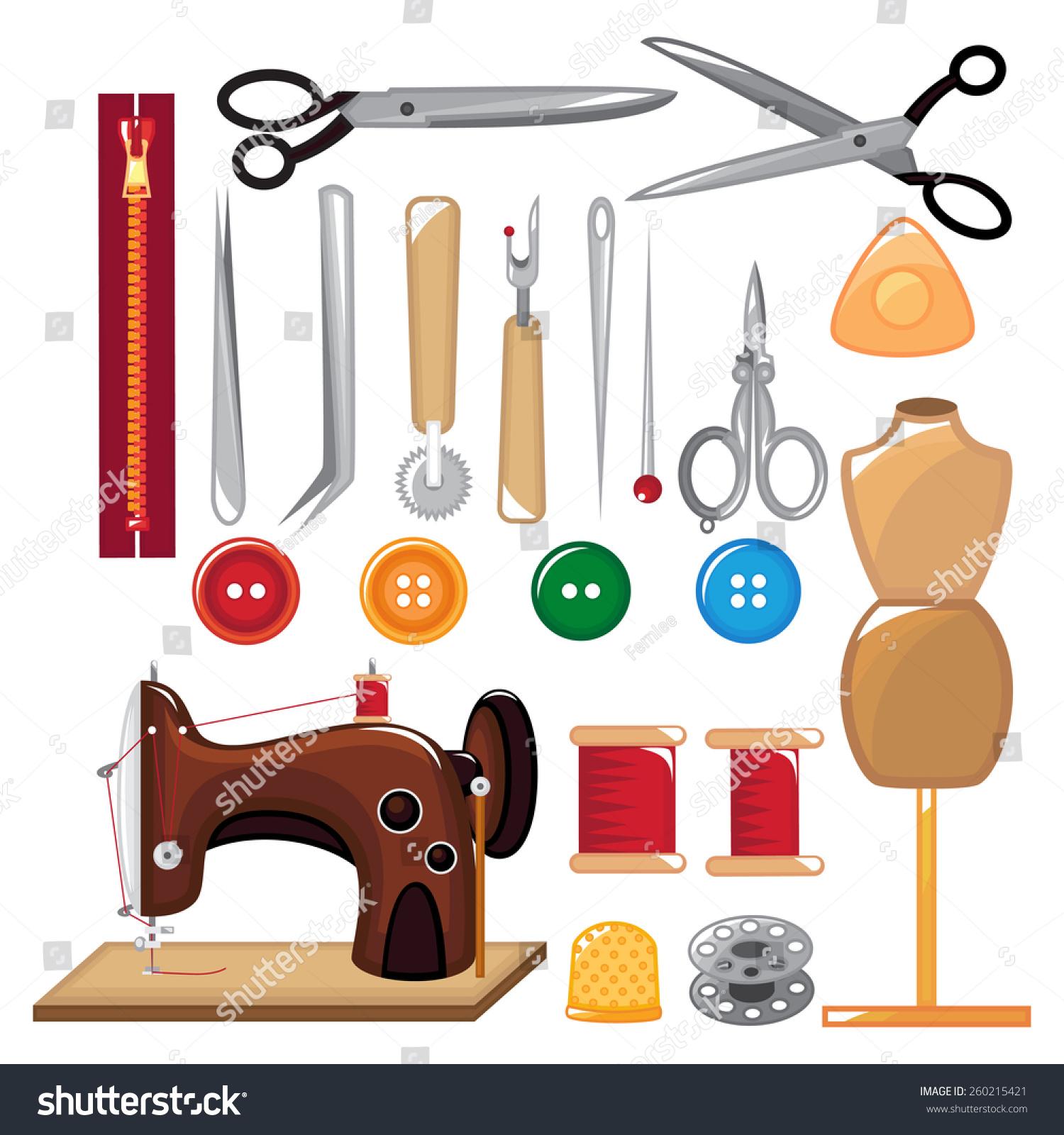 Set Sewing Tools Equipment Stock Vector 260215421