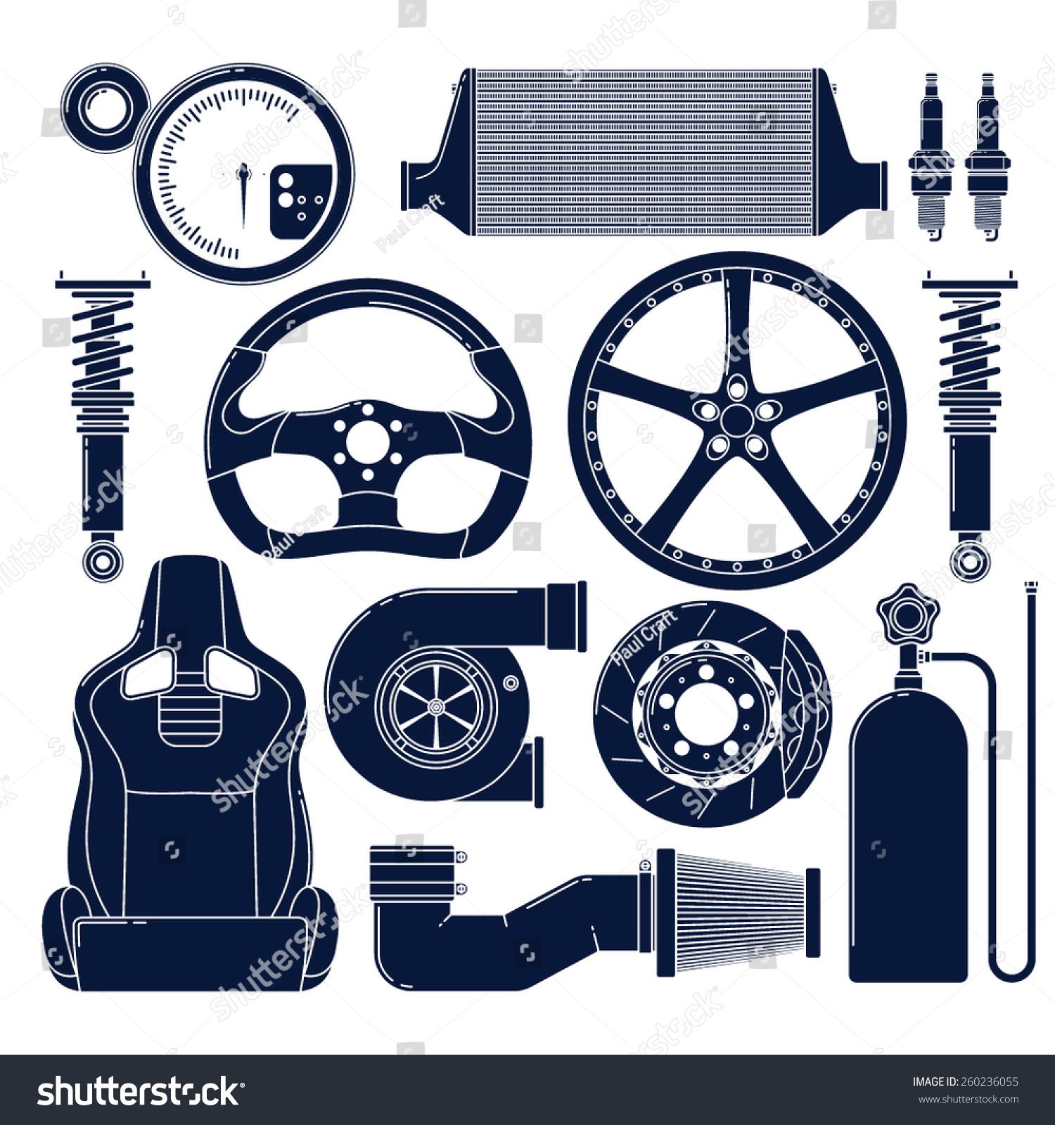 Auto Parts Single Color Vector Icons Stock Vector 260236055 ...