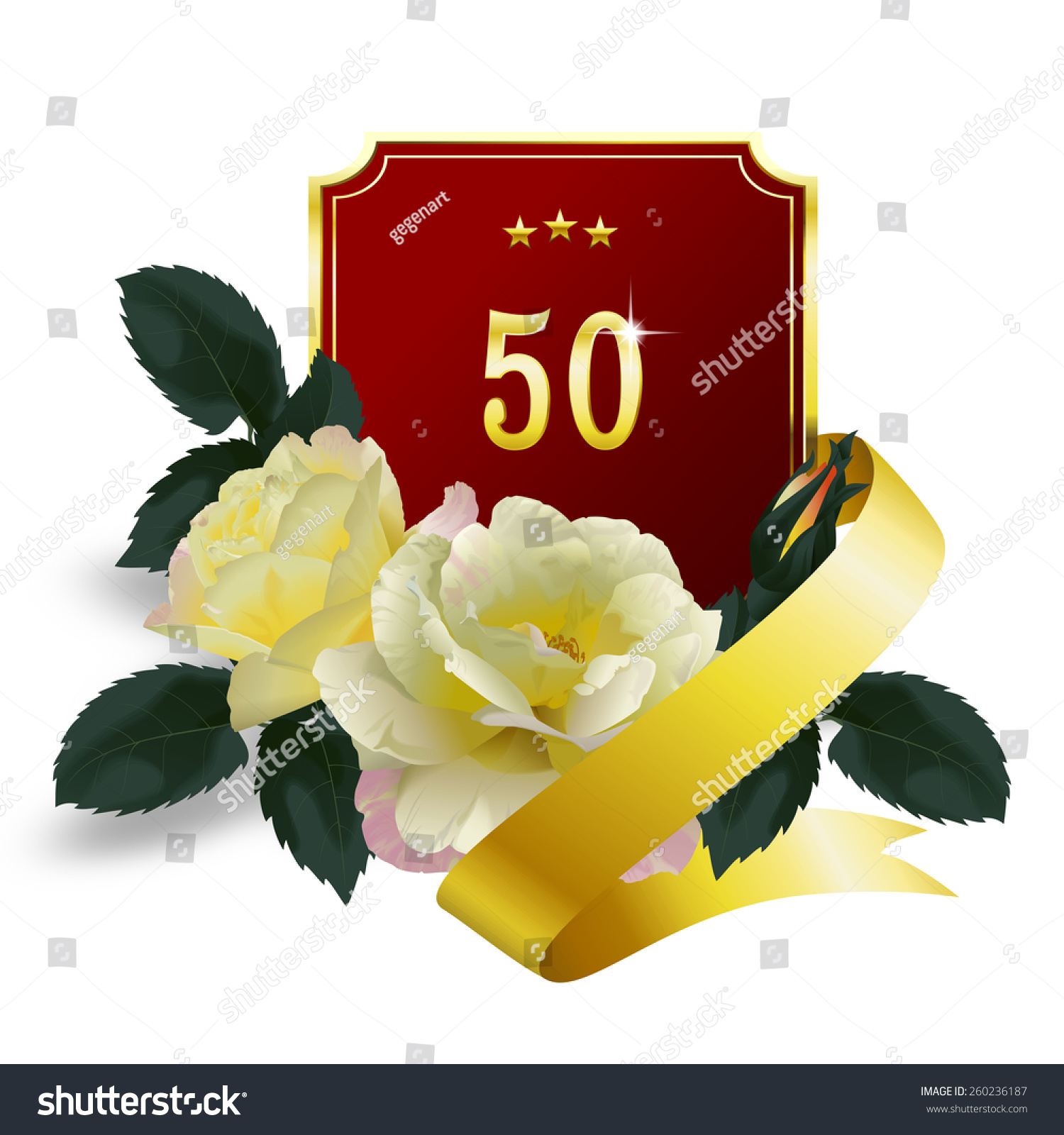 50th Anniversary Bouquet Yellow Roses Red Stock Illustration ...