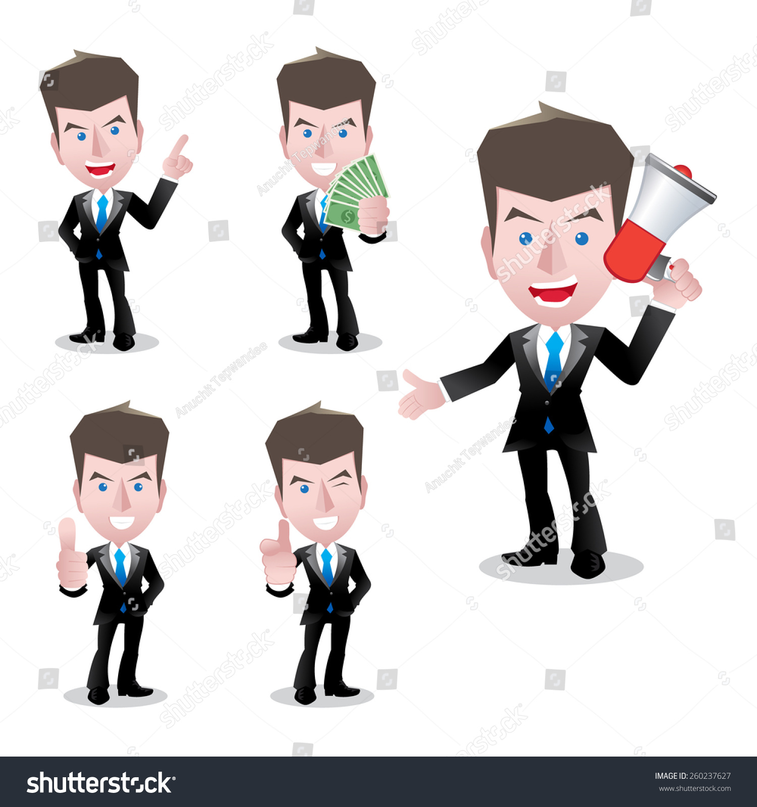Cartoonsmart Character Design : Businessman smart cartoon character set vector stock
