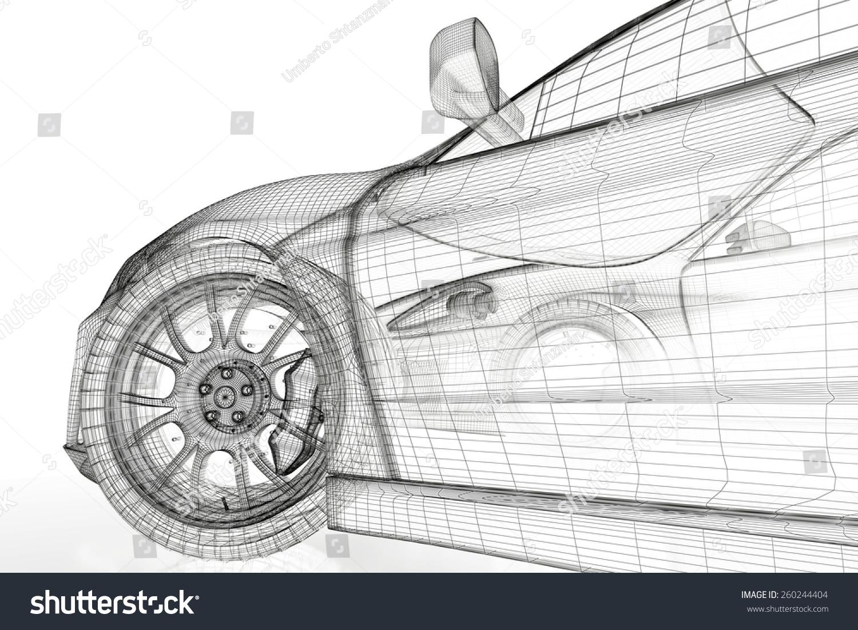 Car vehicle 3 d blueprint model on ilustracin de stock260244404 car vehicle 3d blueprint model on a white background 3d rendered image malvernweather Image collections