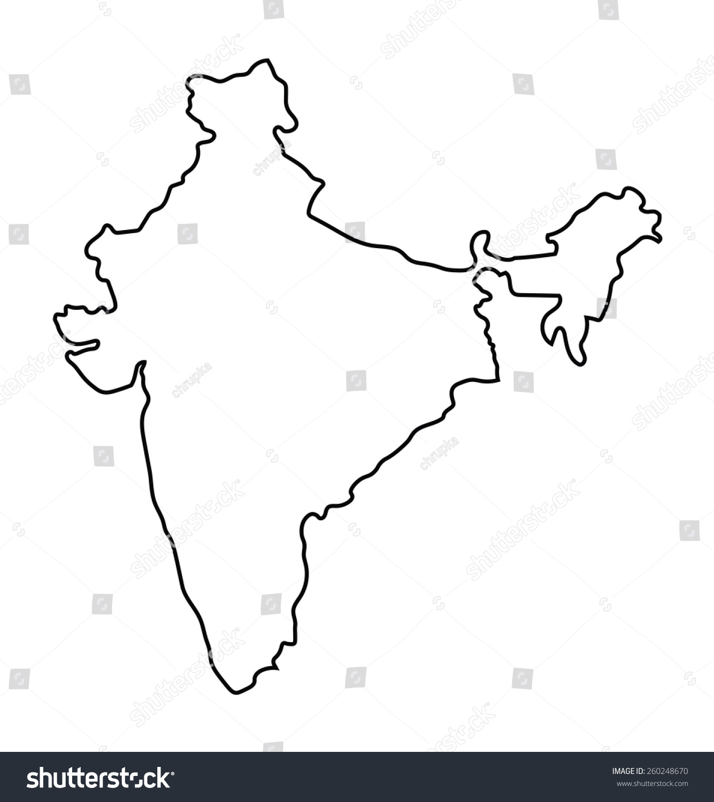 Black outline india map stock vector 260248670 shutterstock black outline of india map gumiabroncs Choice Image
