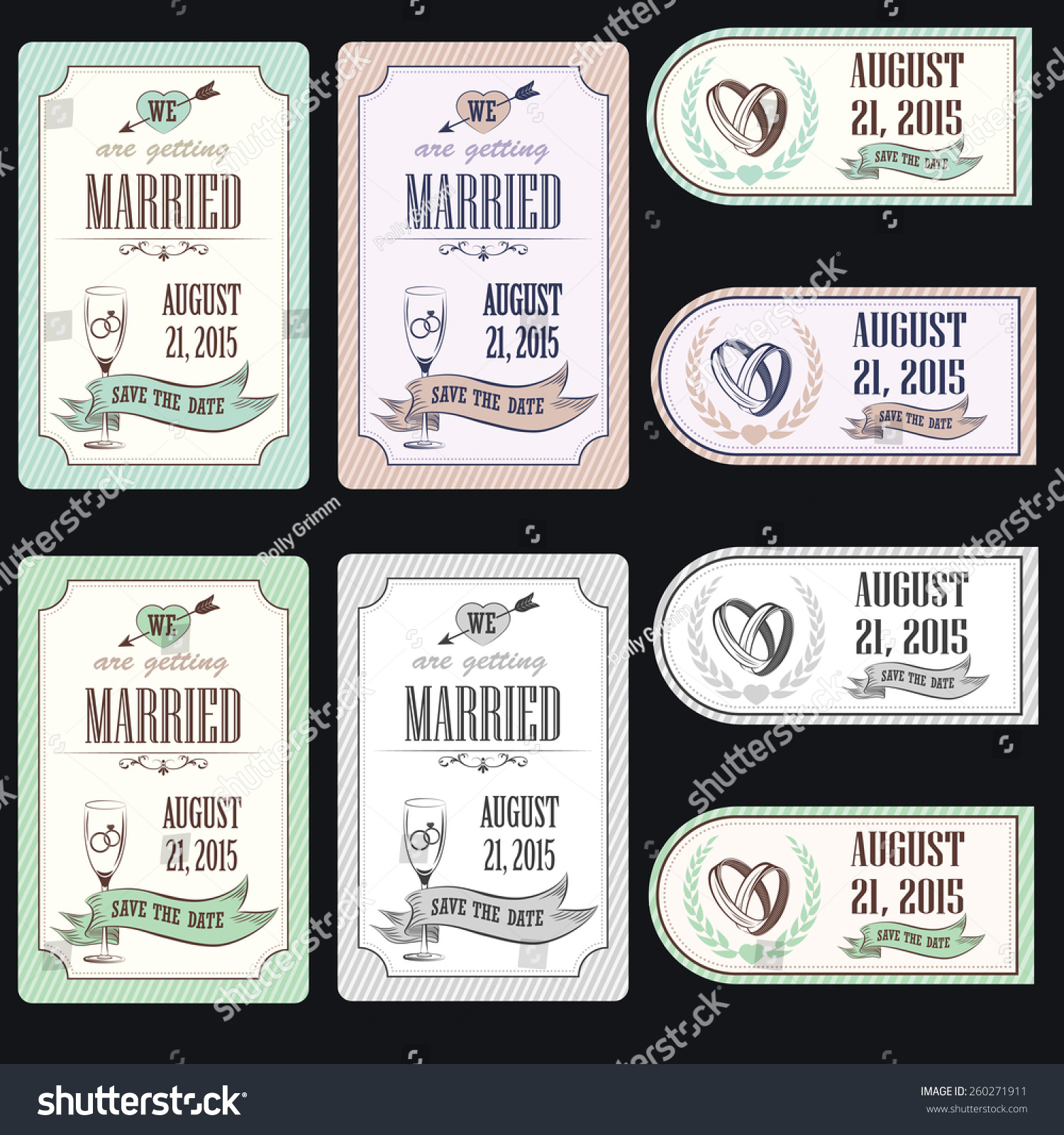 Vintage Postcard Save Date Background Wedding Stock Vector 260271911 ...