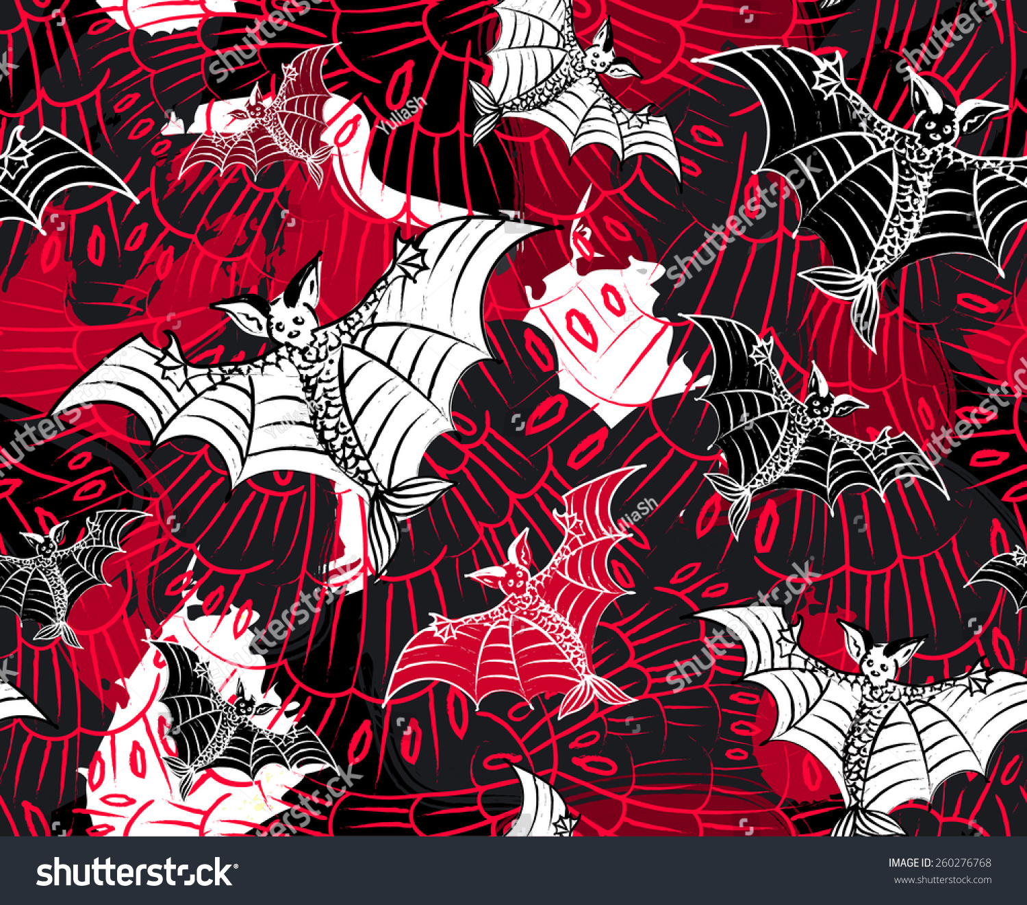 Bats Fish Tales Seamless Pattern Red Stock Vector 260276768 ...