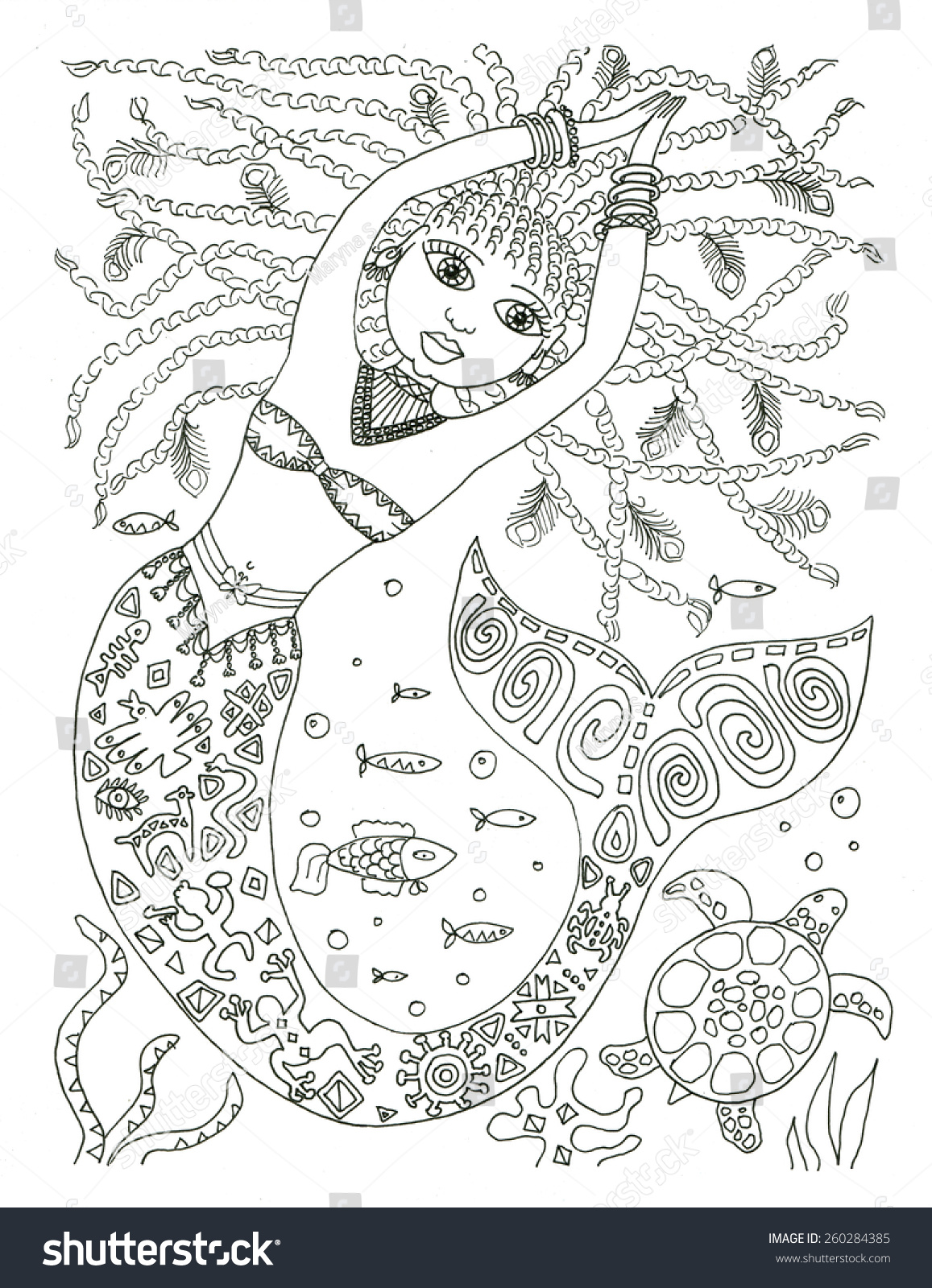 African American Mermaid Coloring Page Stock Illustration 260284385 ...