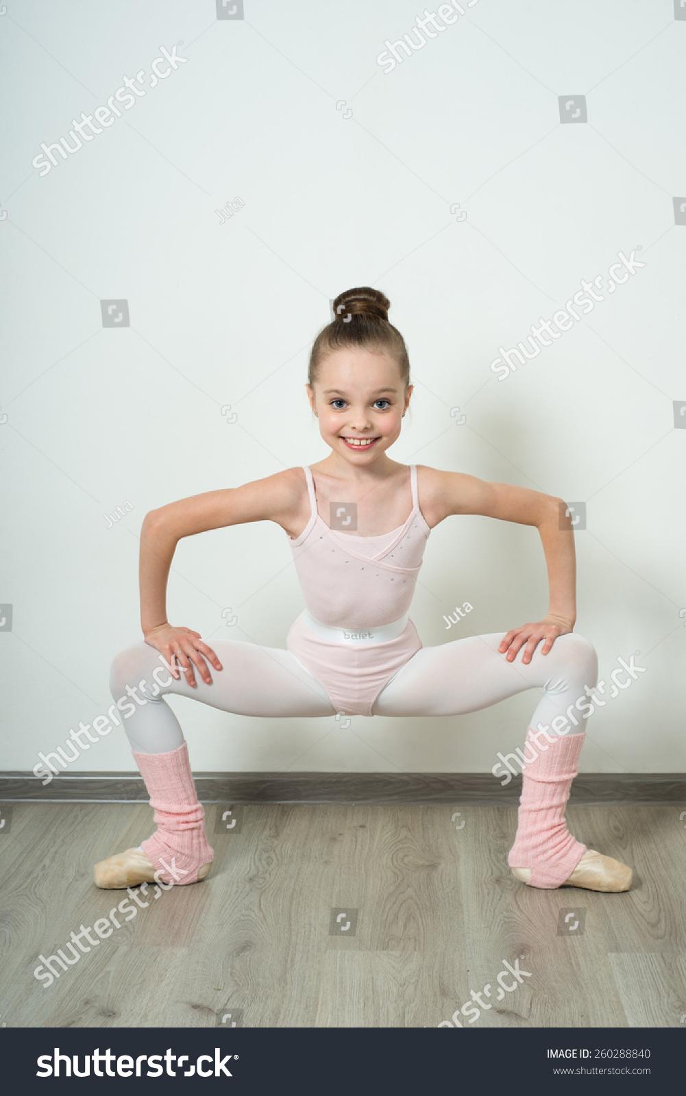Little Adorable Young Ballerina Does Ballet Stock Photo ...
