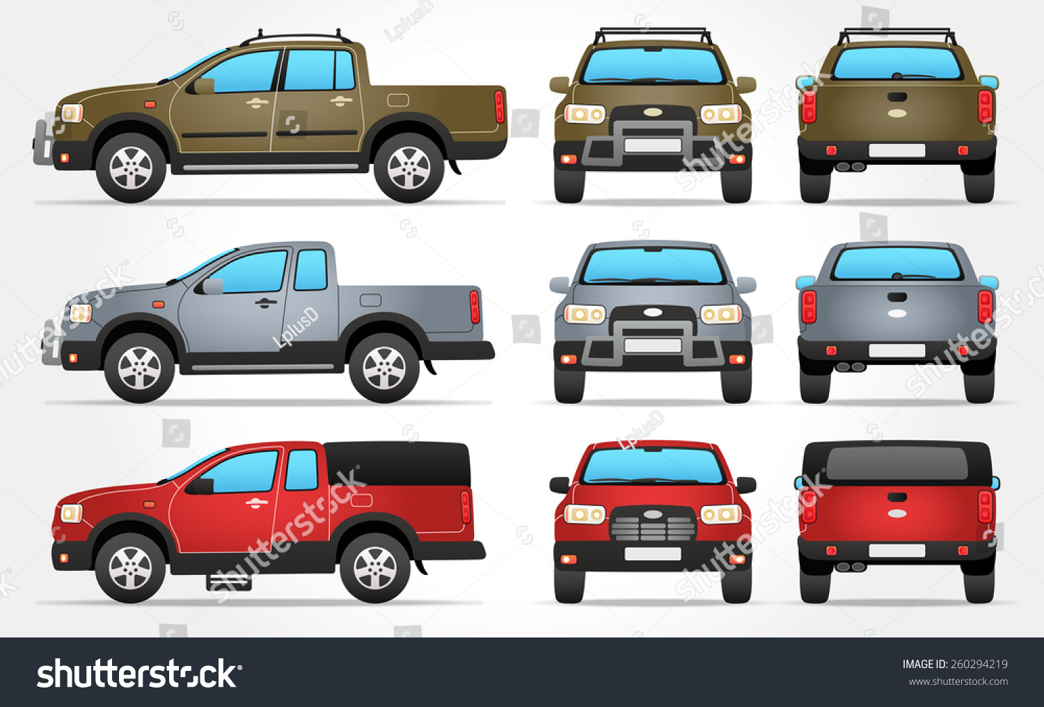 Vector Pickup Truck Side Front Rear Stock Vector 260294219 ...