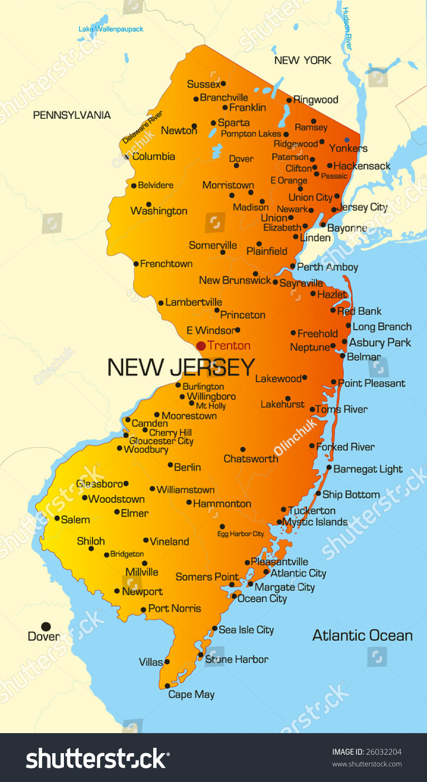 Vector Color Map New Jersey State Stock Vector Shutterstock - New jersey on us map