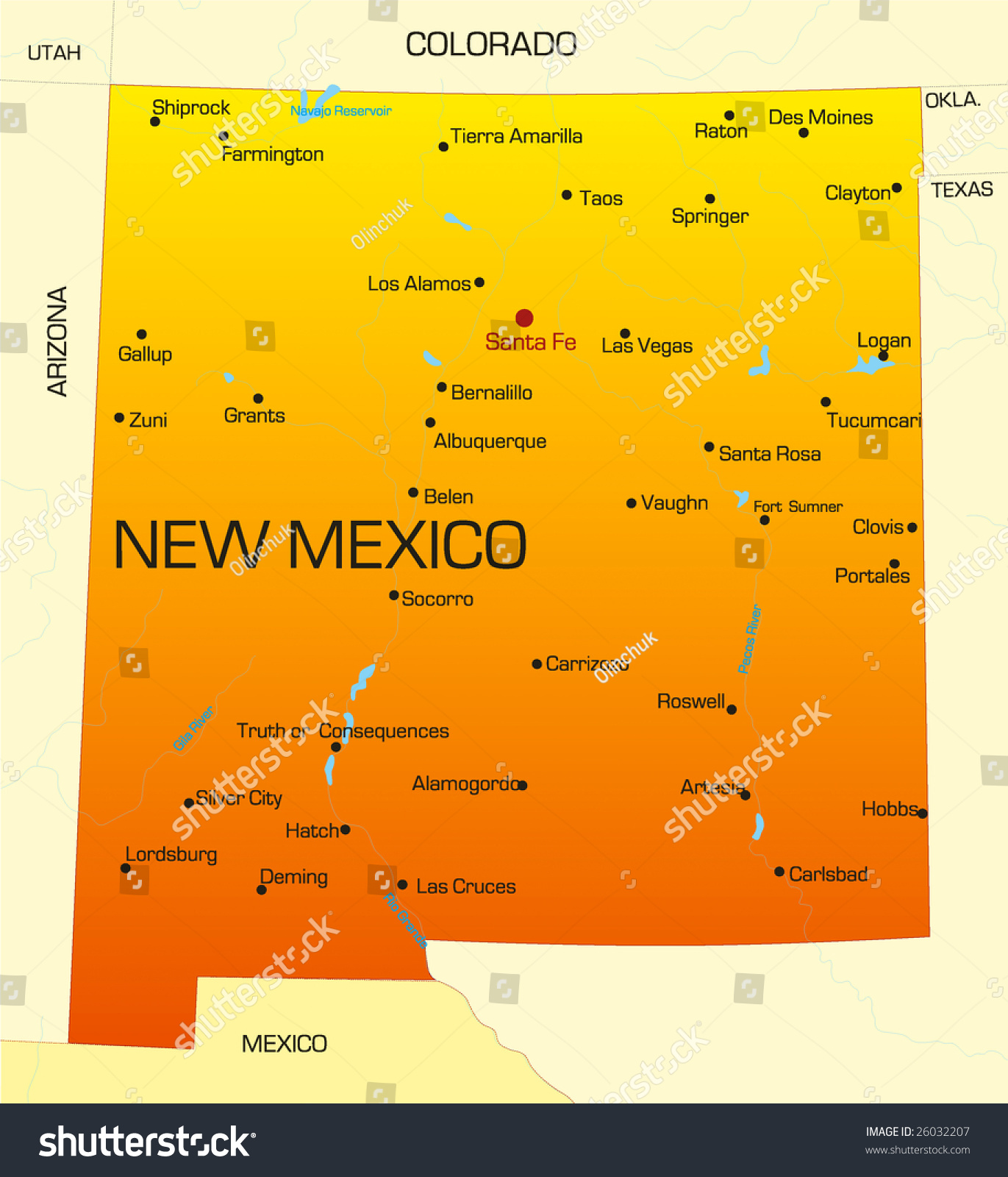 Vector Color Map New Mexico State Stock Vector 2018 26032207