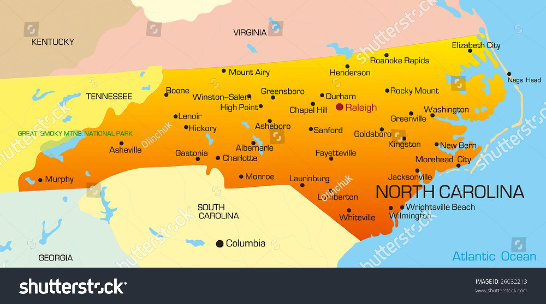 Vector Color Map North Carolina State Stock Vector - Usa map north carolina
