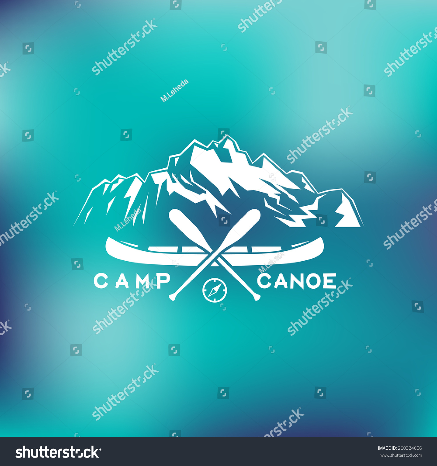Template For Logos Labels And Emblems With Two Paddles Canoe Mountains Compass