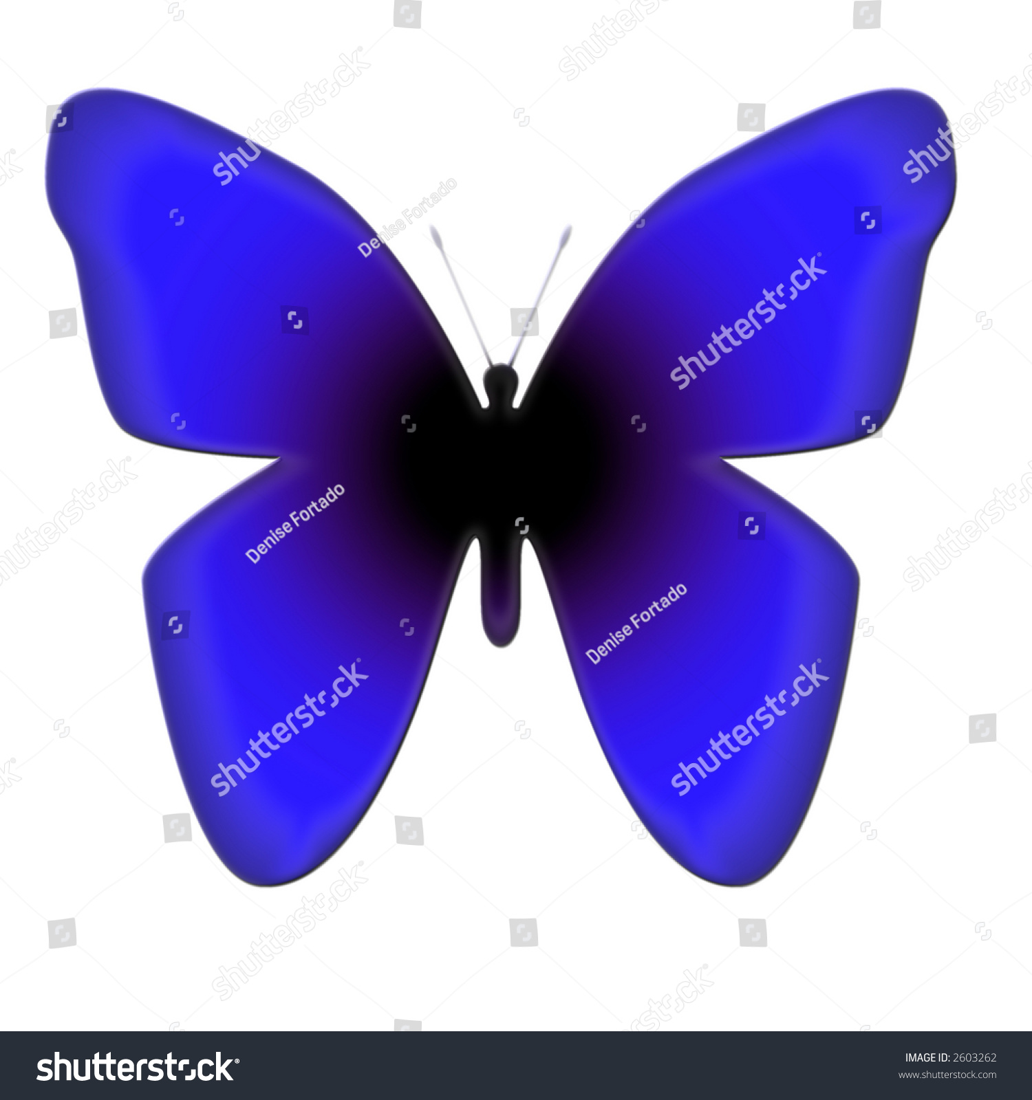 Illustrated Blue And Black Butterfly Isolated On White ...