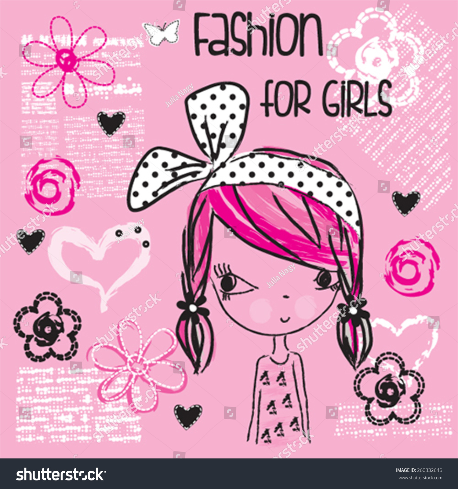 Shirt design in girl - Cute Fashionable Girl T Shirt Design Vector Illustration