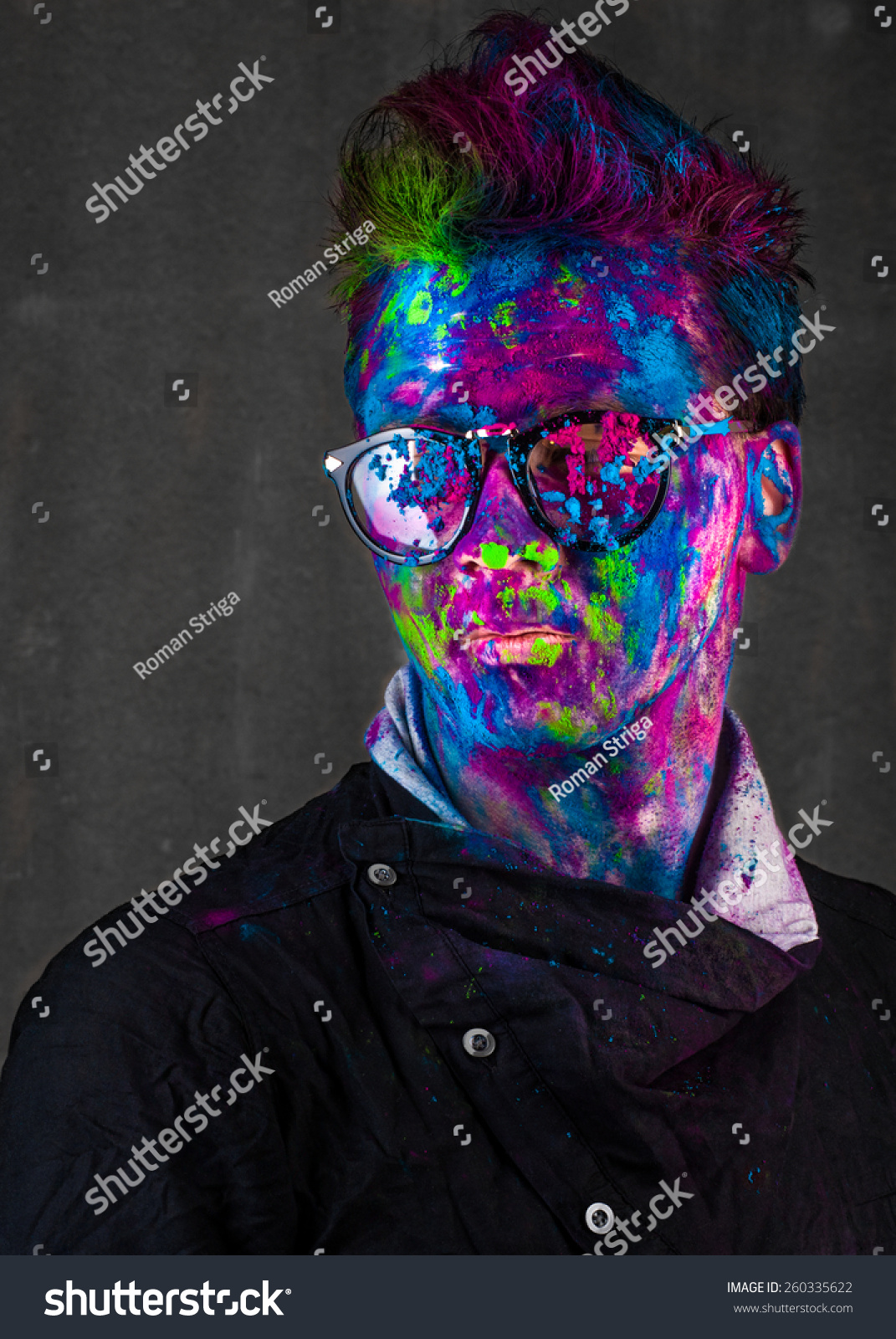 Vivid Portrait Of Hipster Guy In Glasses Stock Photo ...